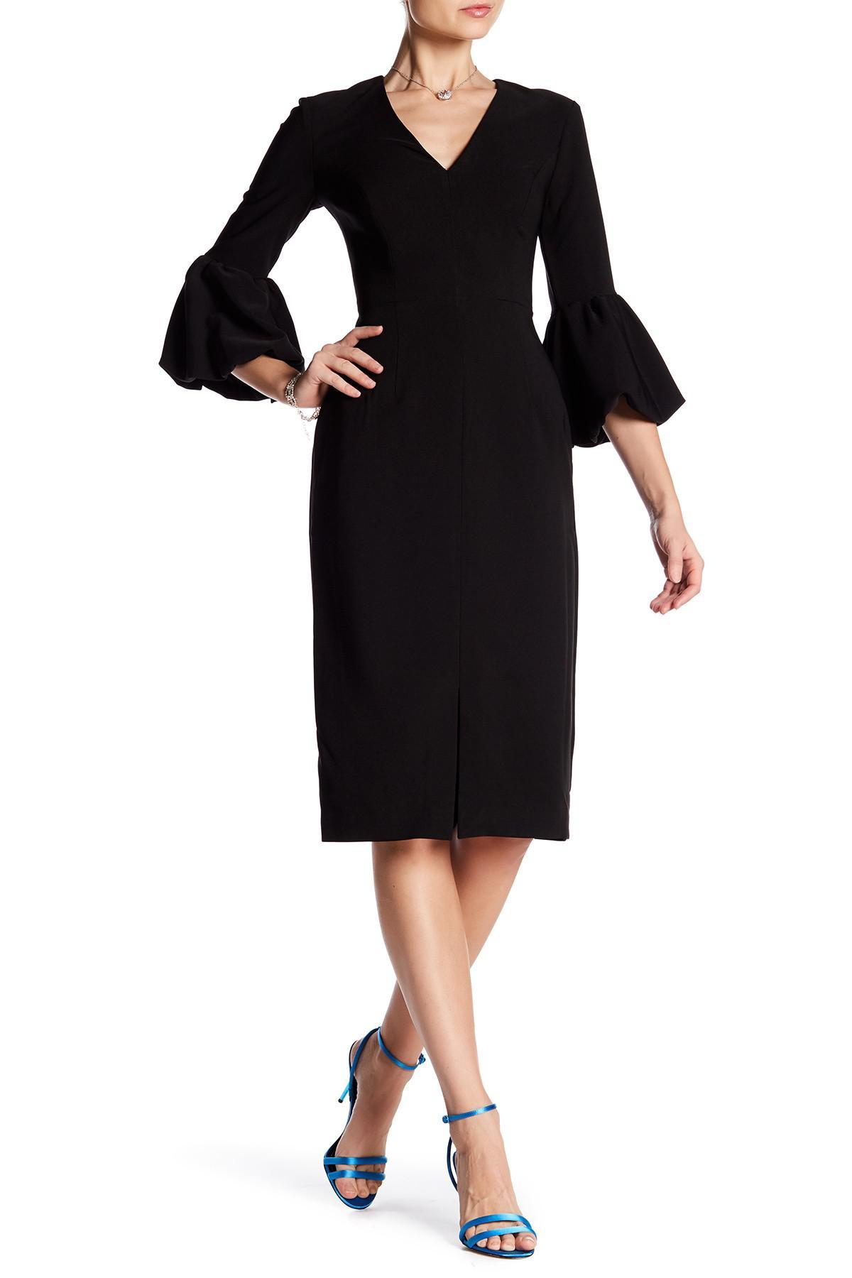Lyst Maggy London V Neck Balloon Sleeve Crepe Dress In Black