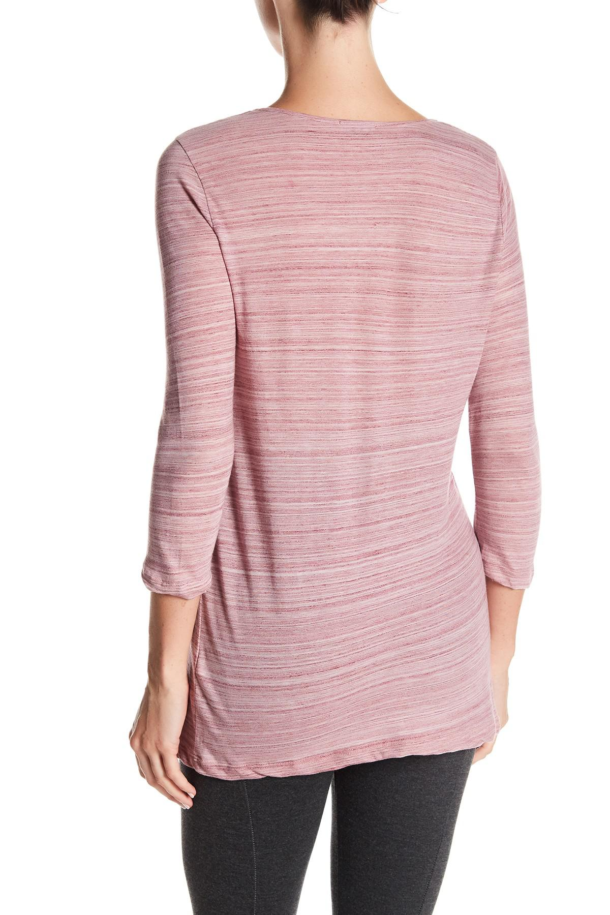 Lyst three dots deep v neck tee shirt in pink for Three dots t shirts
