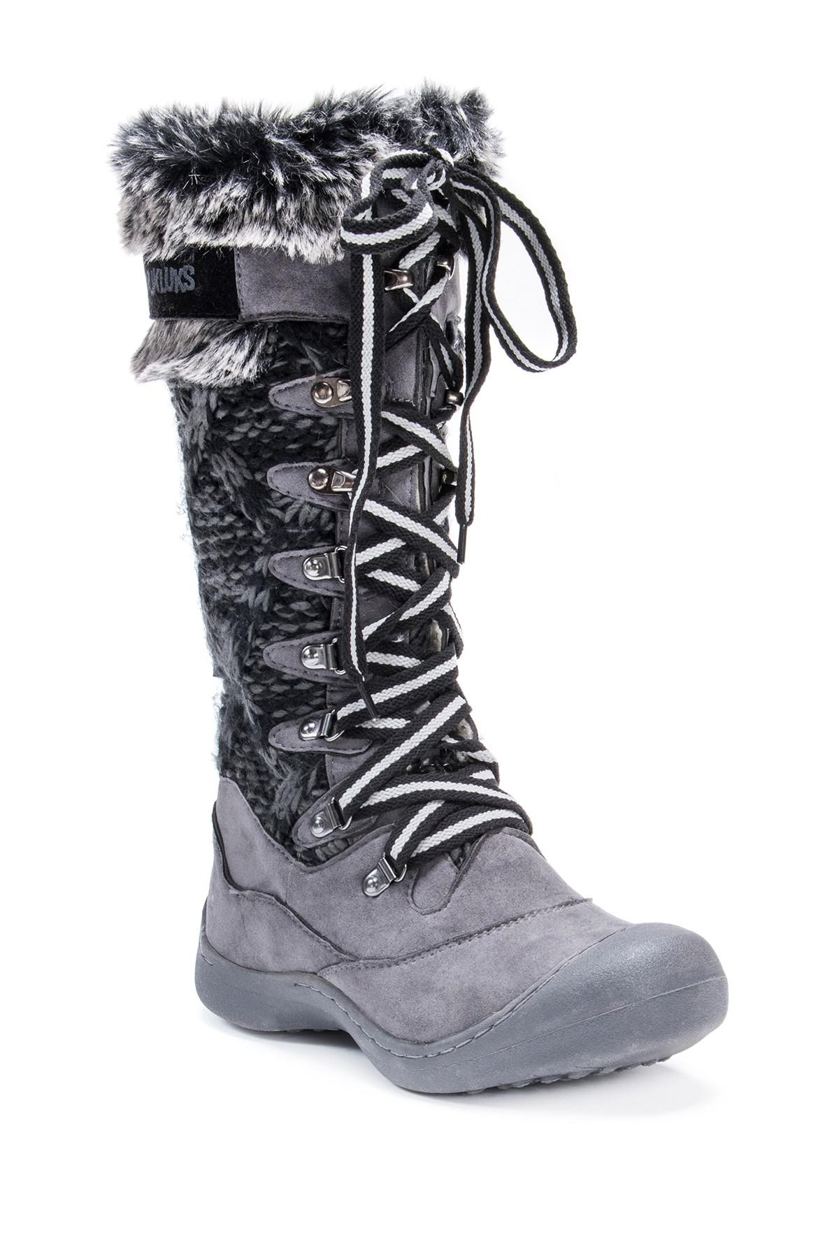 Muk Luks Gwen Faux Fur Lined Snow Boot In Grey Gray Lyst