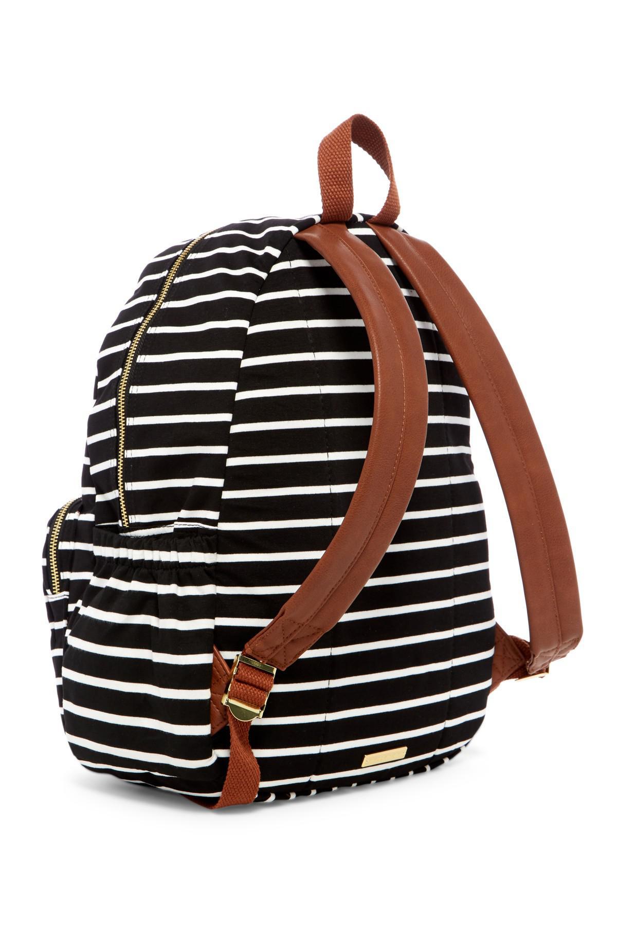 38e442a9ee1 Madden Girl Stripe Jersey Backpack in Black - Lyst