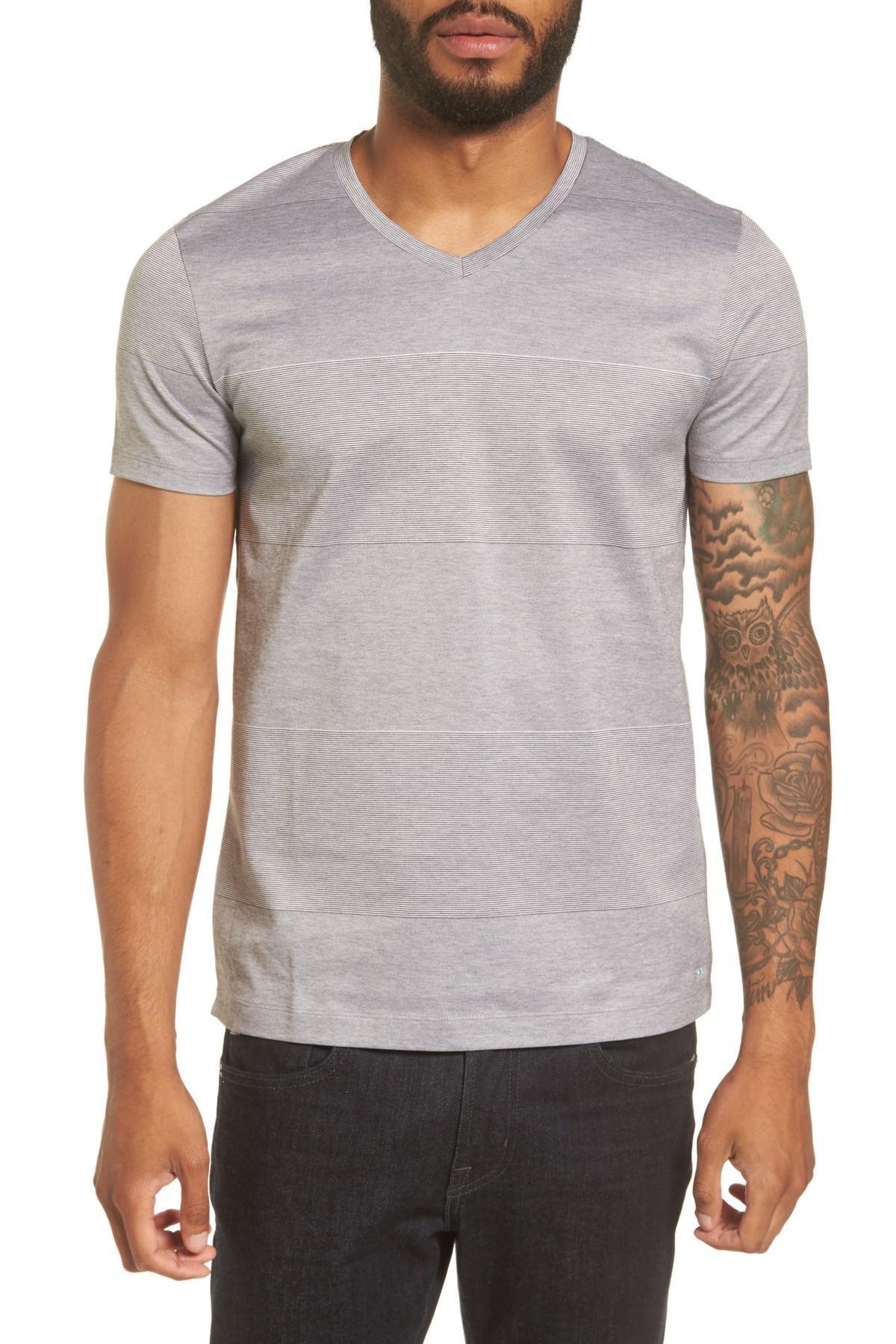 Lyst boss slim fit stripe v neck t shirt in gray for men for Slim v neck t shirt