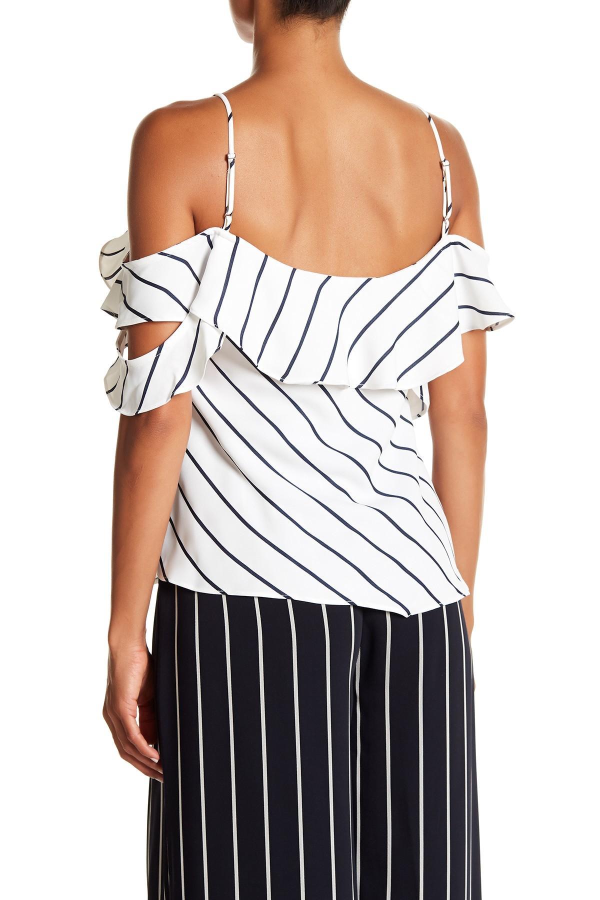 6559fac904a43 ... White Pinstripe Ruffle Wrap Cold Shoulder Camo Blouse - Lyst. View  fullscreen
