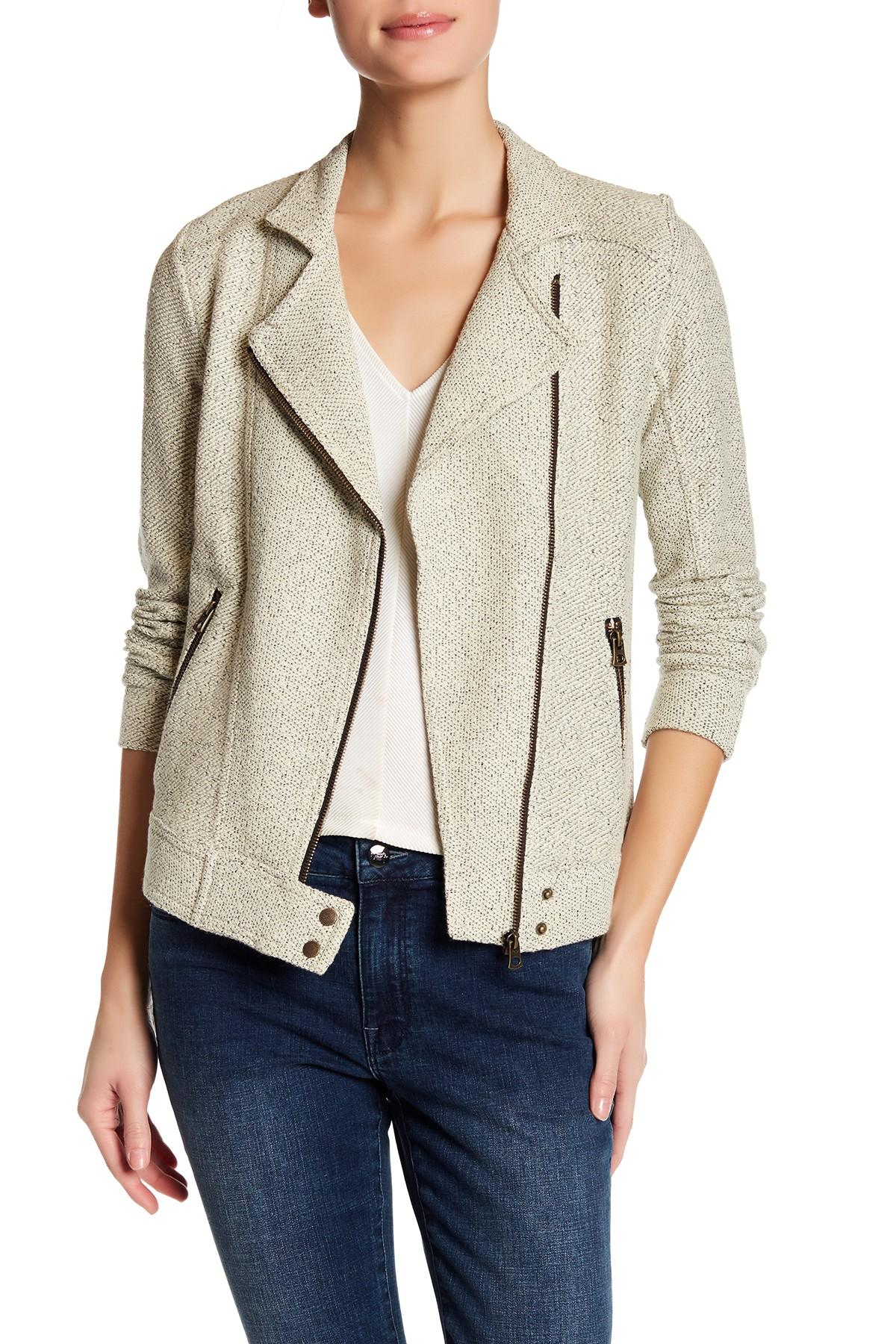 Lyst - Lucky Brand Knit Moto Jacket in Natural