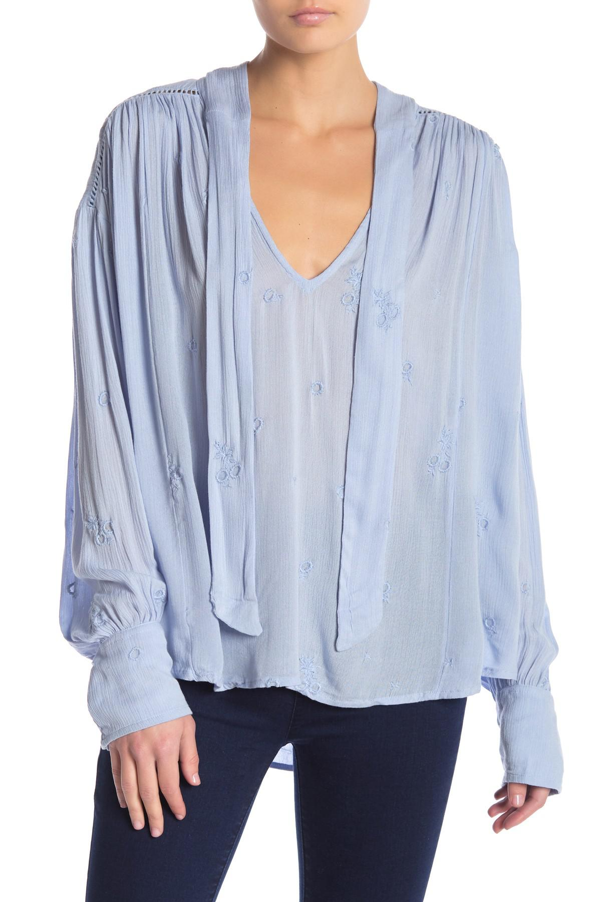 53af77b022b00f Free People Wishful Moments Tie Neck Top in Blue - Lyst