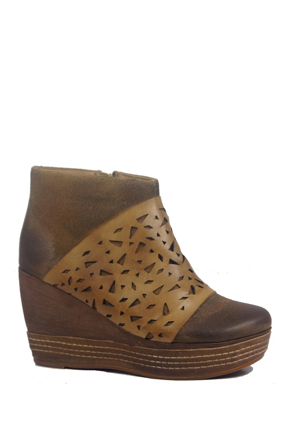 9e651a05ca20 Lyst - Antelope Lasercut Wedge Heel Bootie in Brown