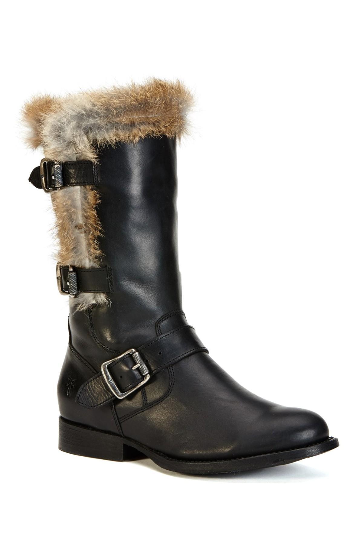 Frye Jamie Luxe Genuine Rabbit Fur Moto Boot In Black Lyst