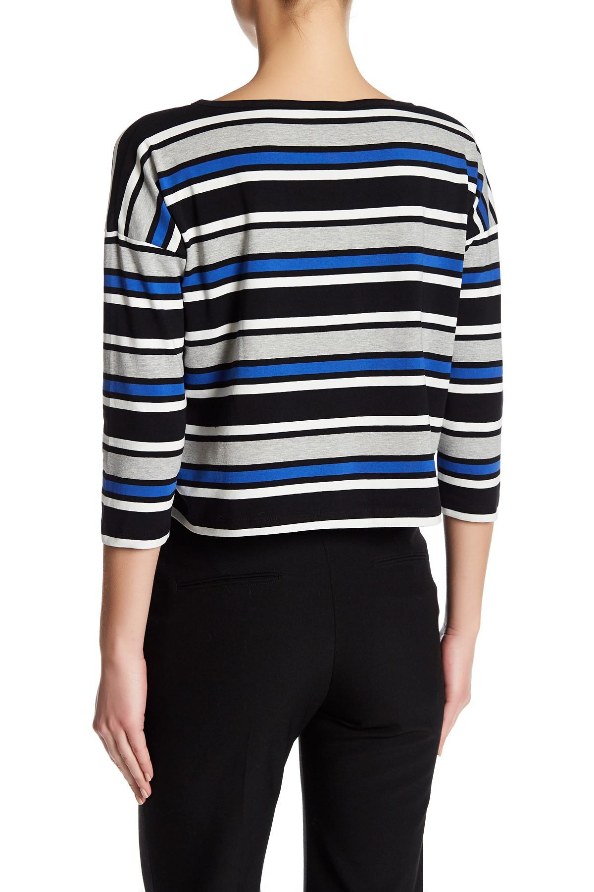 Lyst french connection stripe long sleeve shirt in blue for French cut shirt sleeve