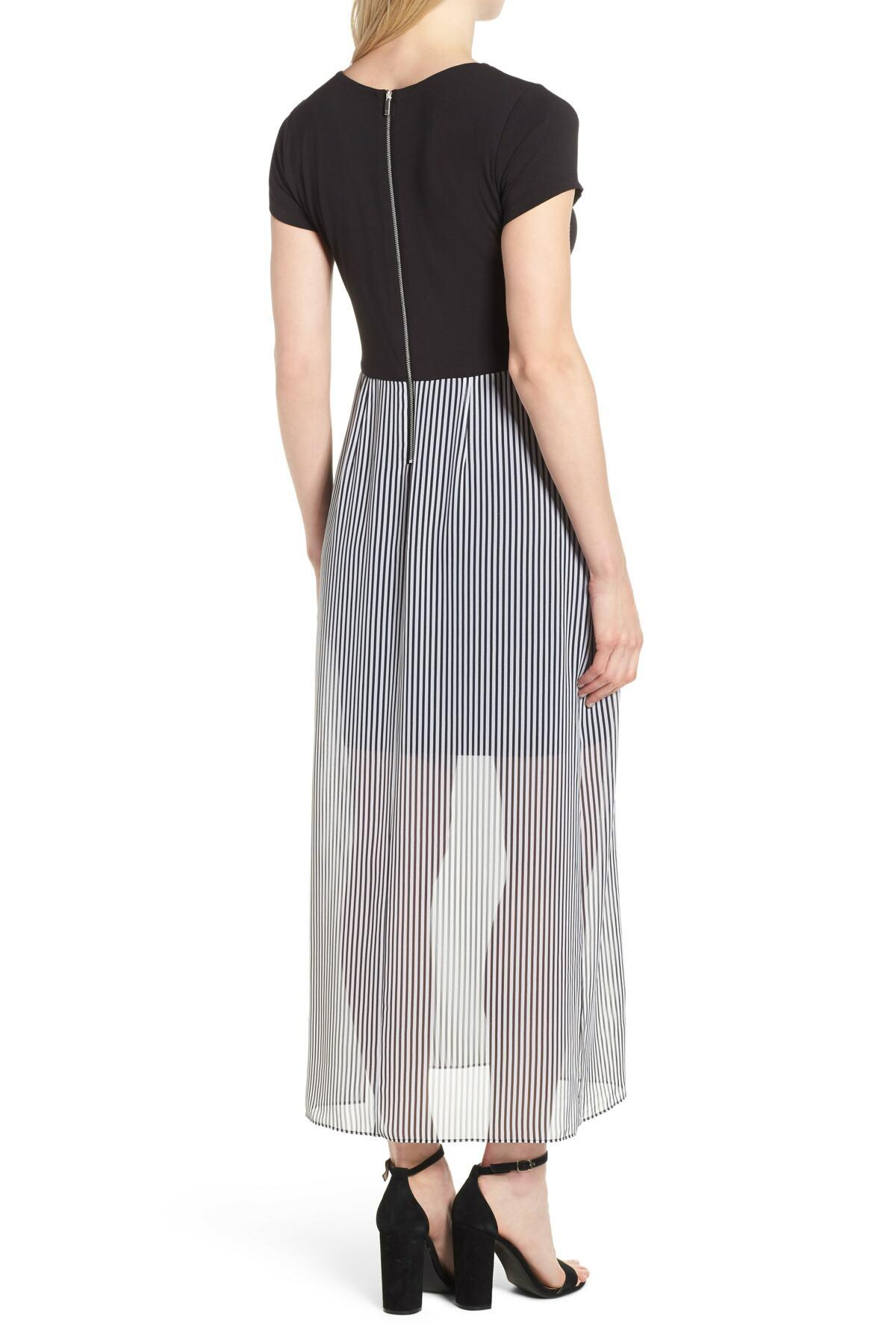bfbcf462e02 Vince Camuto - Black Stripe Chiffon Overlay Maxi Dress - Lyst. View  fullscreen