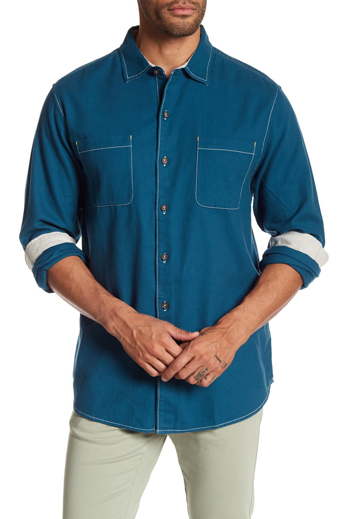Lyst tommy bahama sea glass long sleeve regular fit for Tommy bahama long sleeve dress shirts