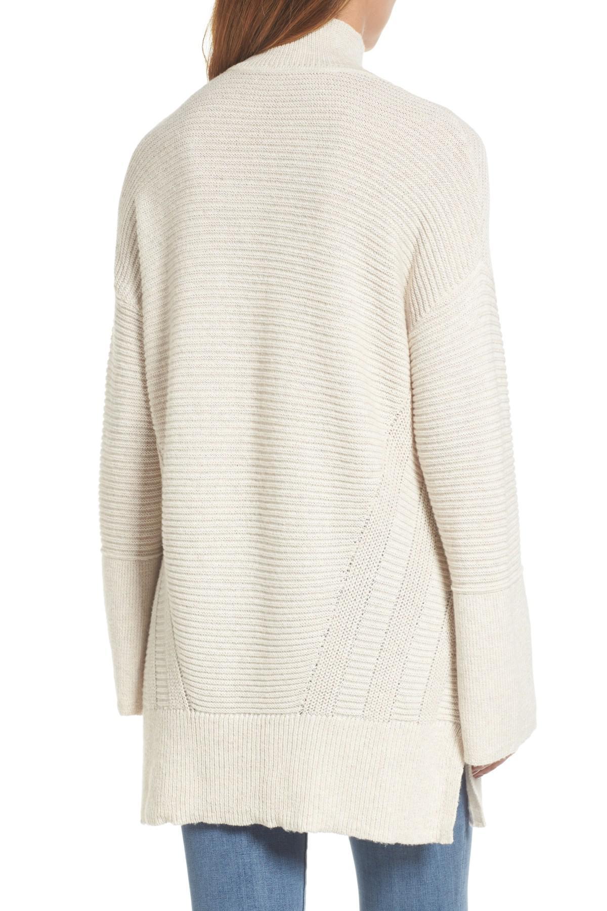 a83de0467 Lyst - Caslon (r) Ribbed Turtleneck Tunic Sweater (regular   Petite ...