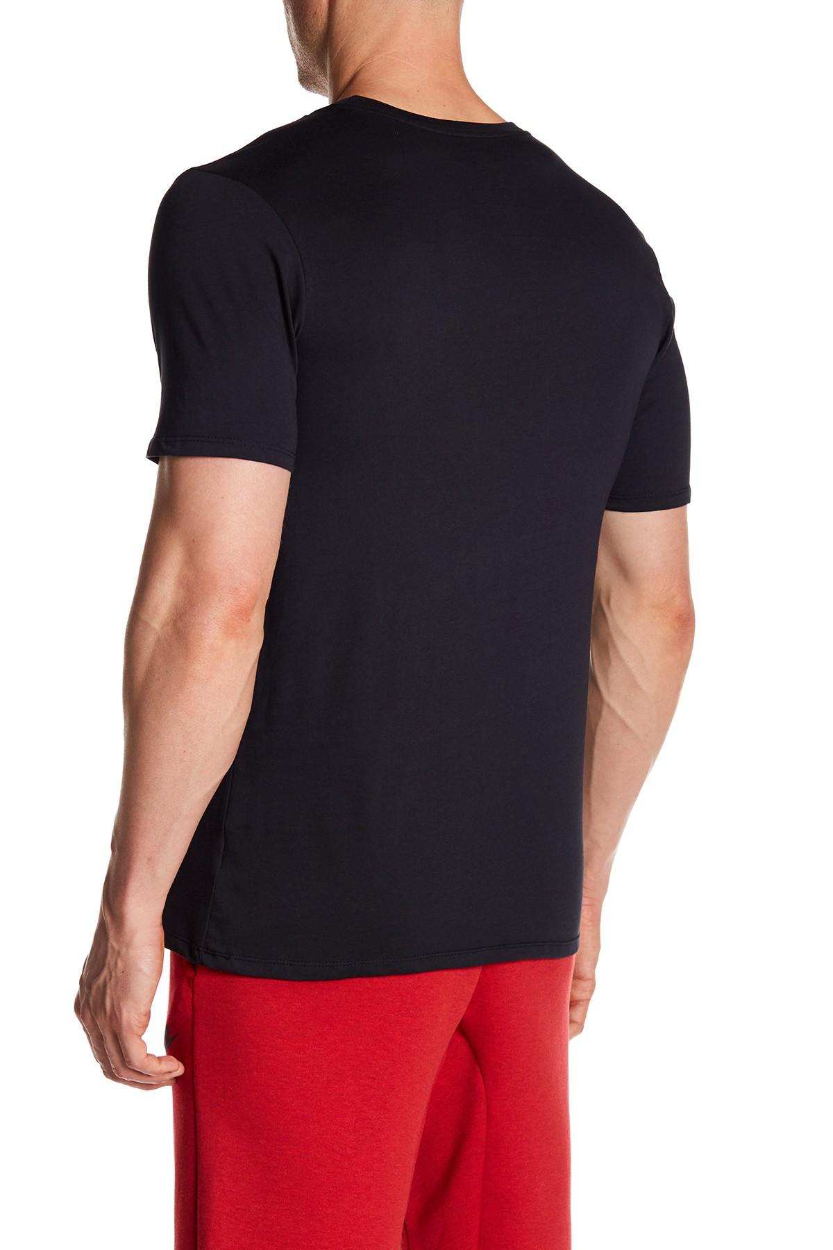 Lyst nike swoosh goal athletic cut tee in black for men for Mens athletic cut shirts