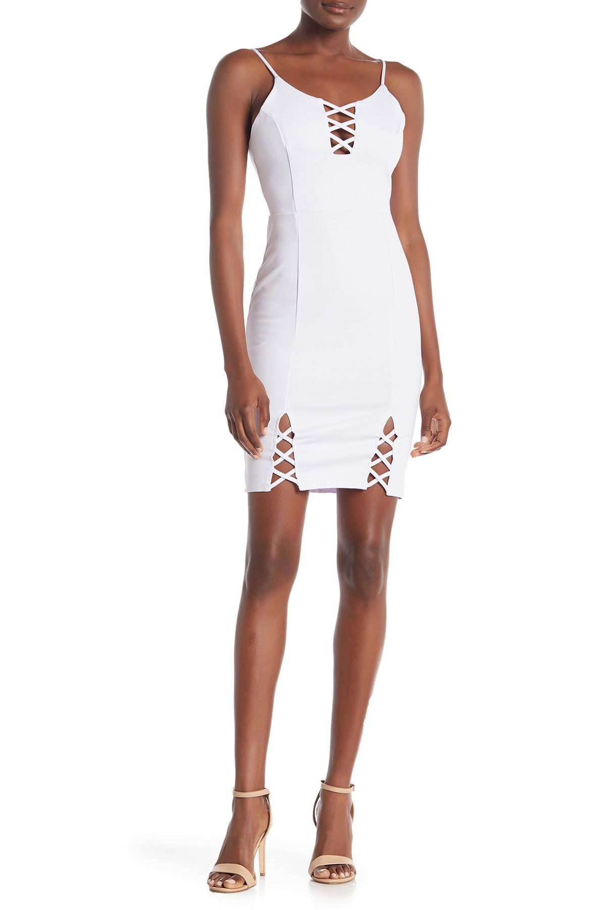 85234d48fef8 Lyst - 4si3nna Bodycon Lace-up Dress in White