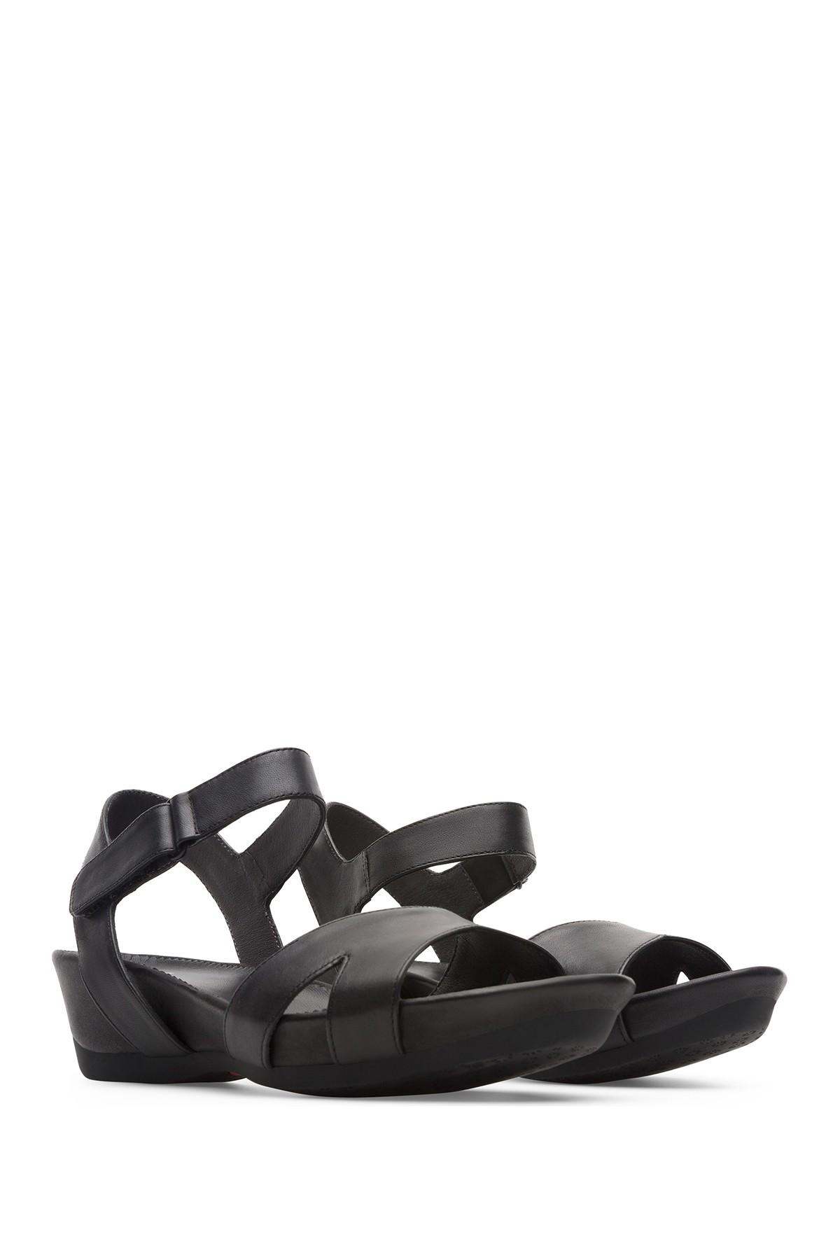 4dec36790105 Lyst - Camper Micro Leather Wedge Sandal in Black