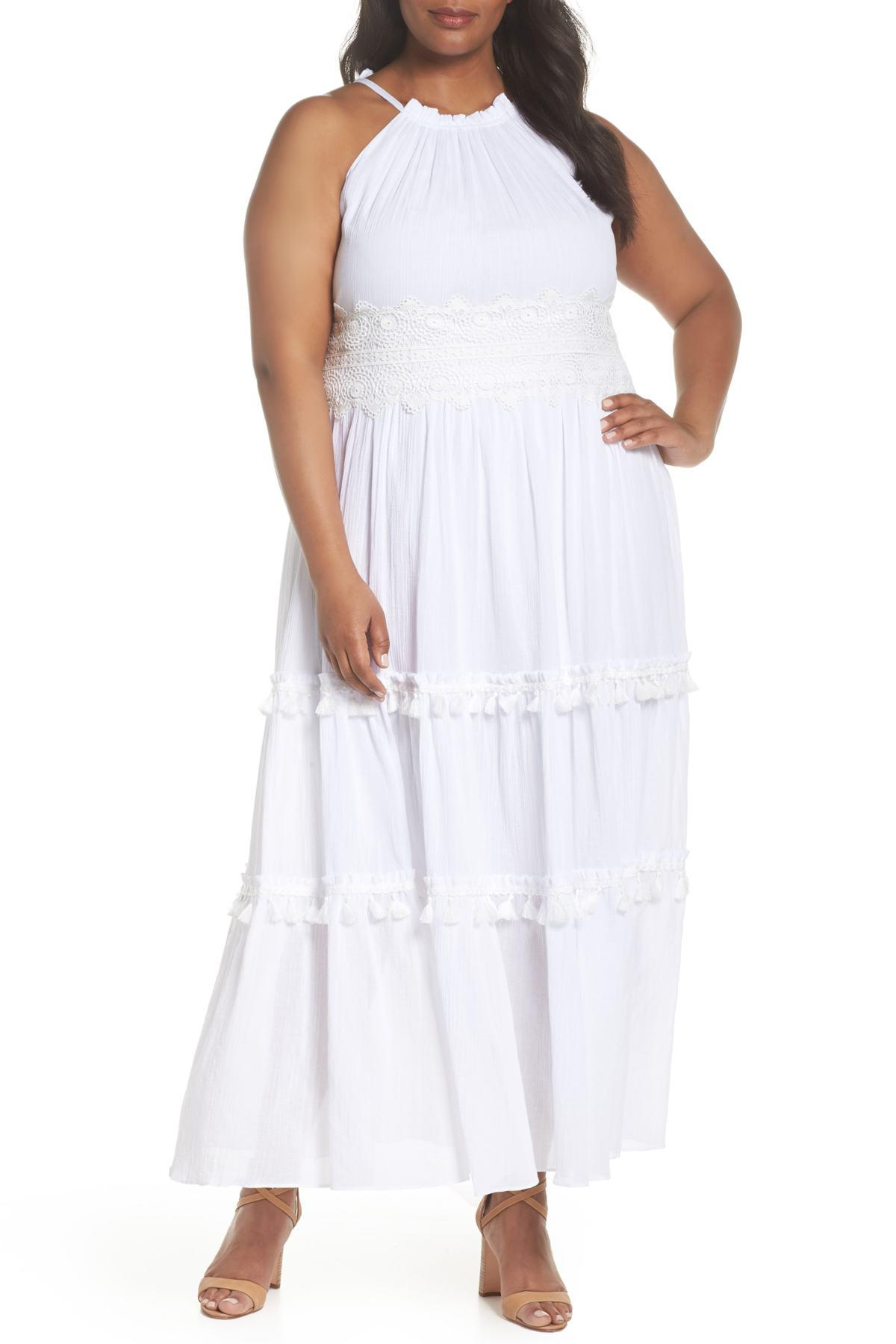 44189832ac3 Lyst - Eliza J Halter Neck Cotton Maxi Dress (plus Size) in White