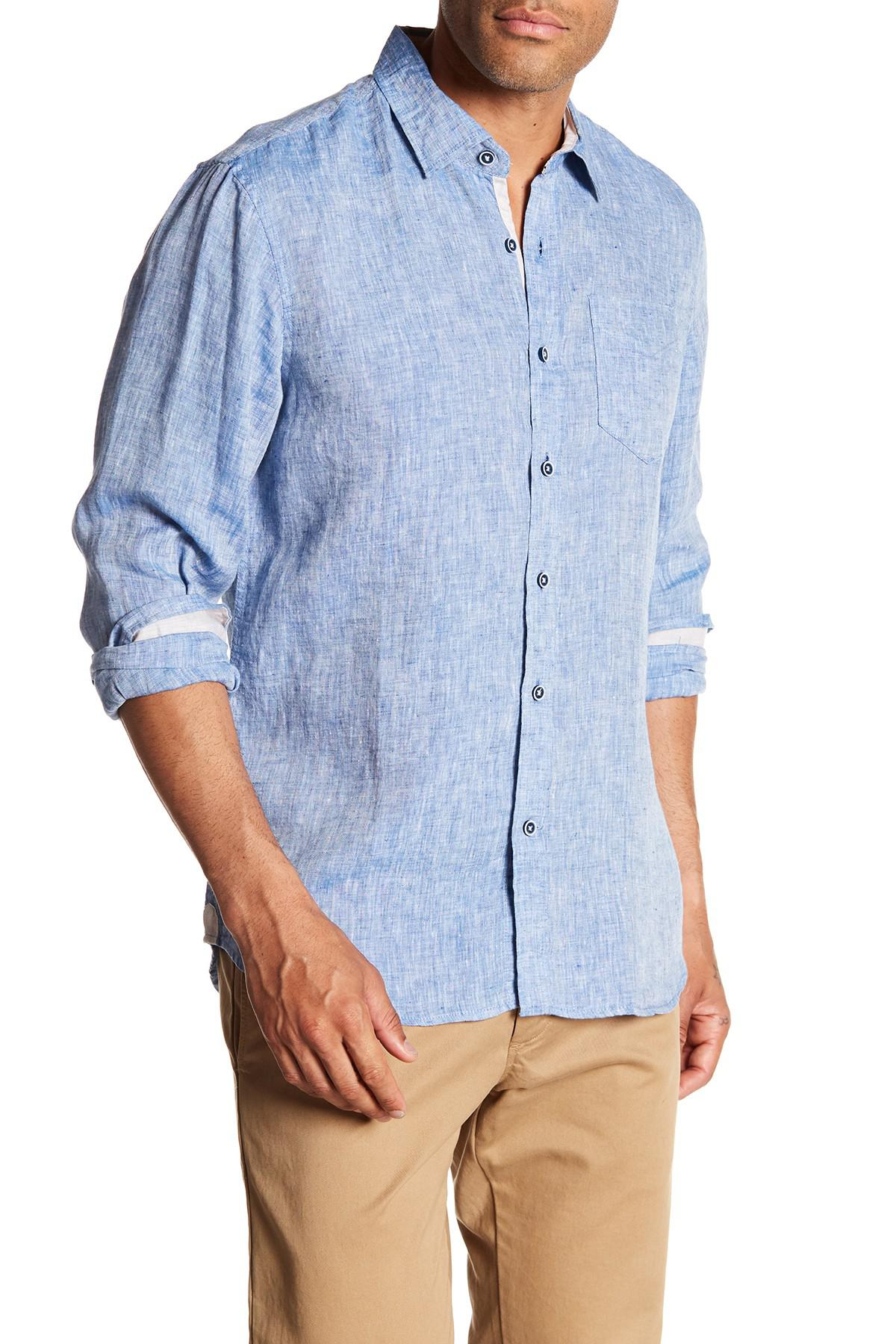 1a8899845a Lyst - Report Collection Long Sleeve Slim Fit Linen Shirt in Blue ...