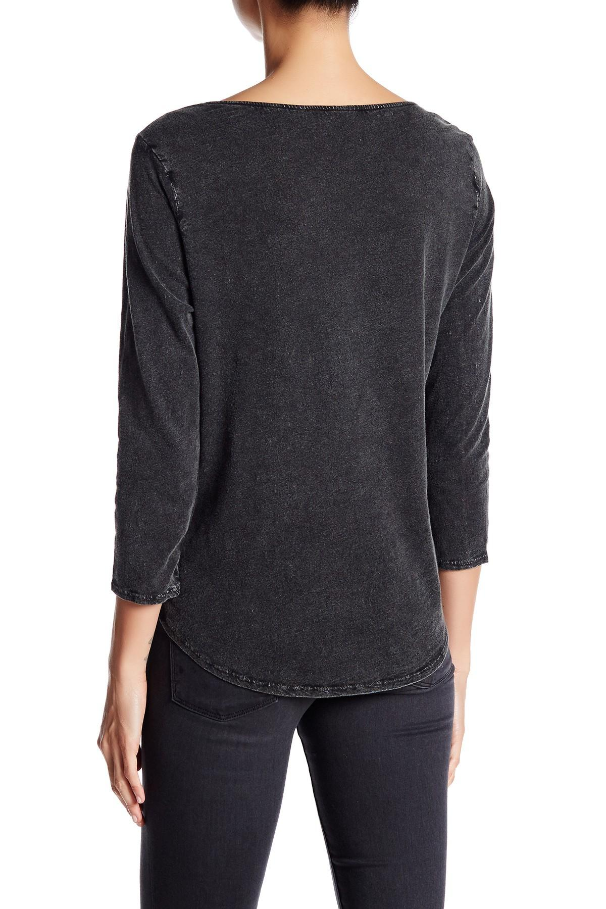 Lucky Brand Embroidered Ballet Neck Tee In Black Lyst
