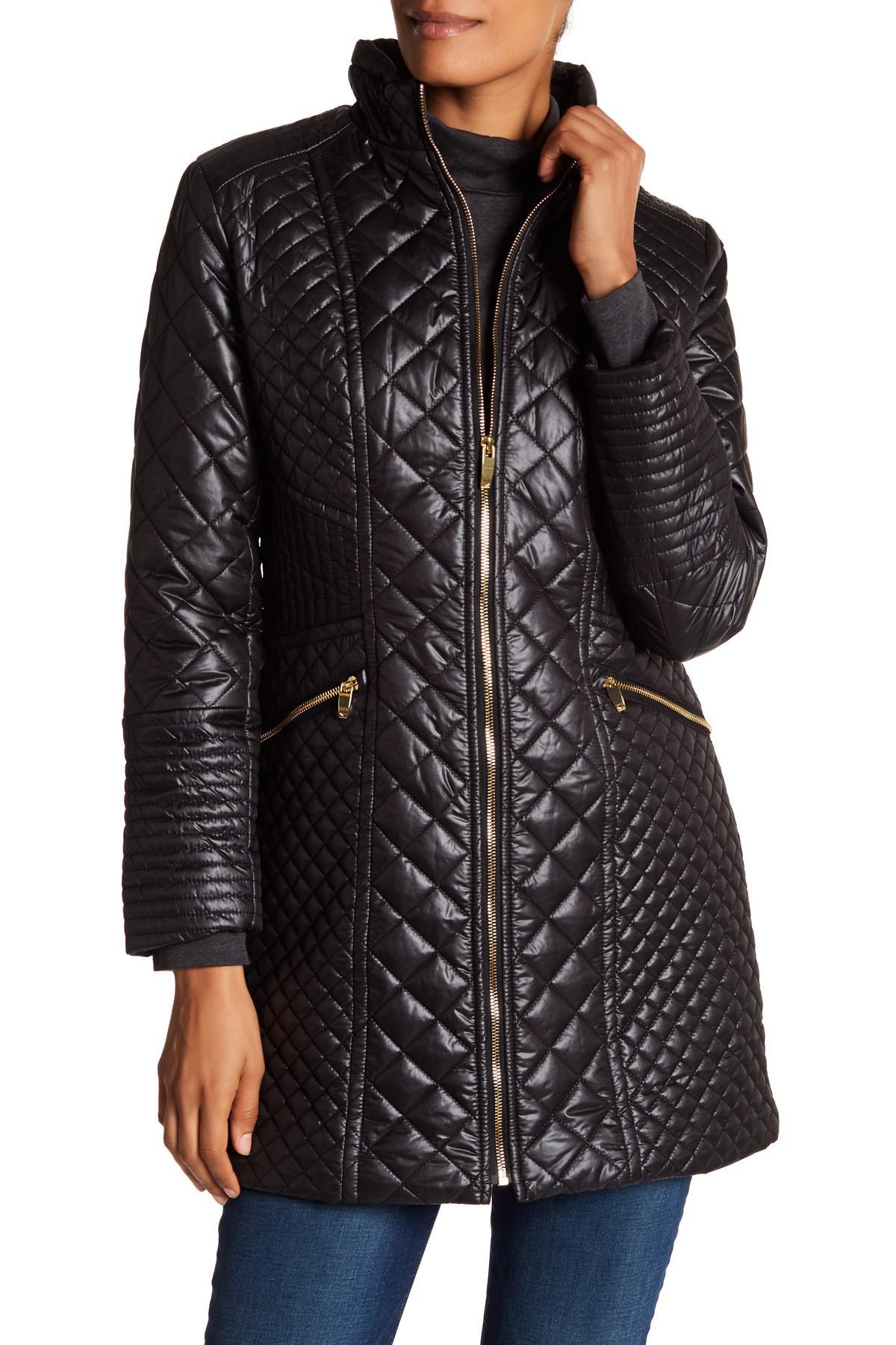 Lyst Via Spiga Mixed Quilted Full Zip Coat In Black