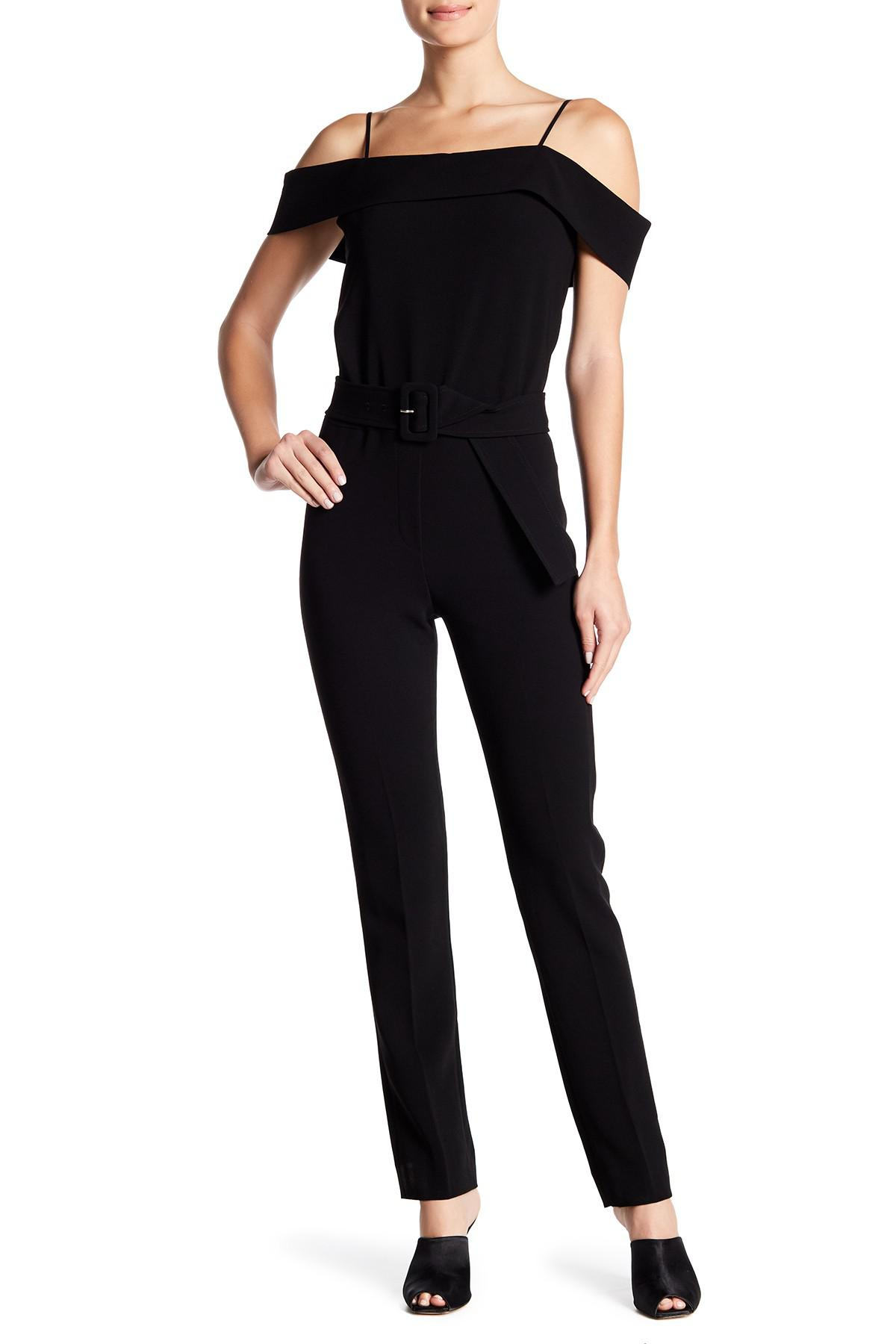 9216ec1ac2d0 Lyst - Theory Cold Shoulder Admiral Crepe Jumpsuit in Black