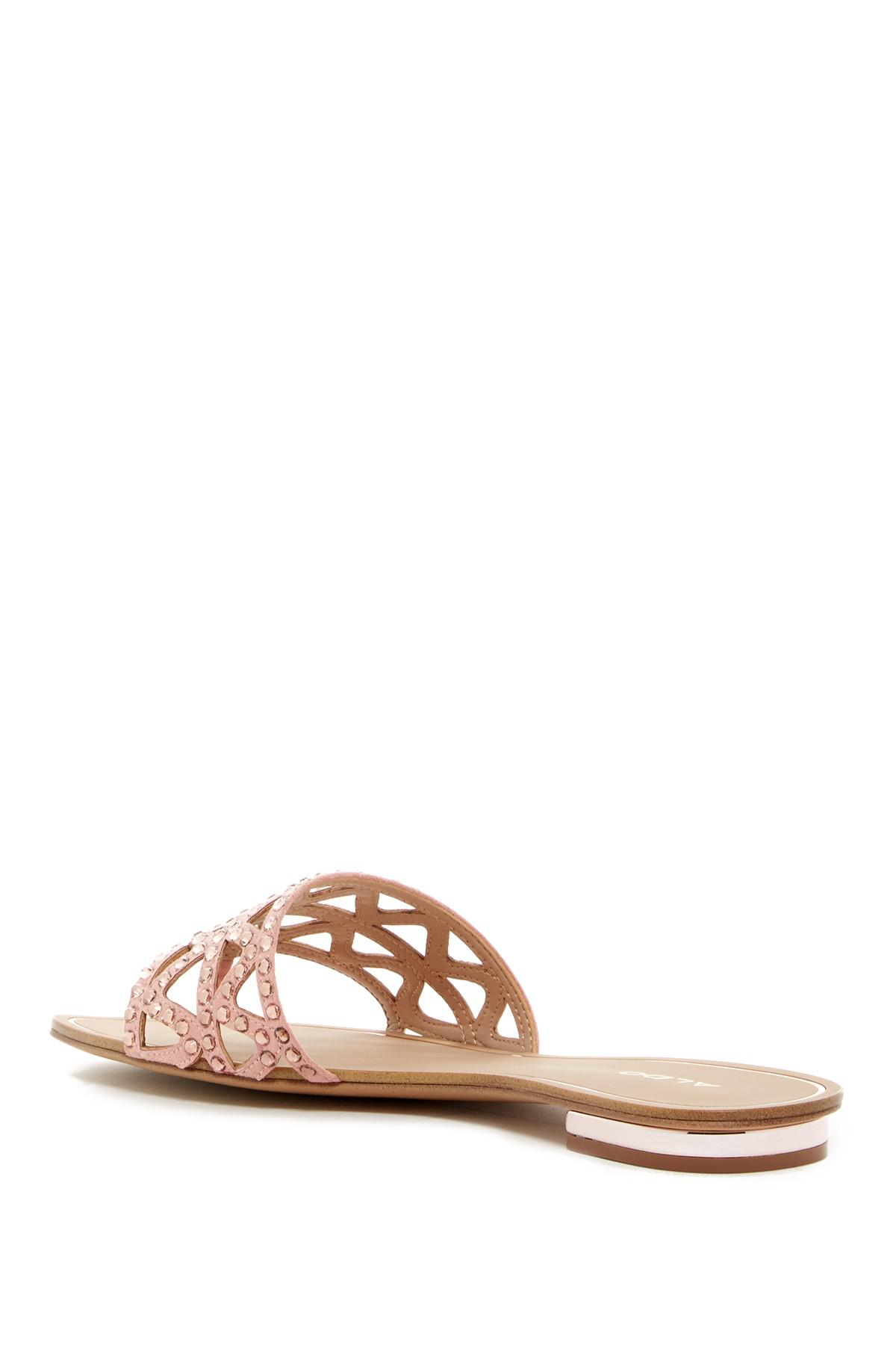 5ba51d9694bd Lyst - ALDO Fridia Studded Cutout Thong Sandal in Pink