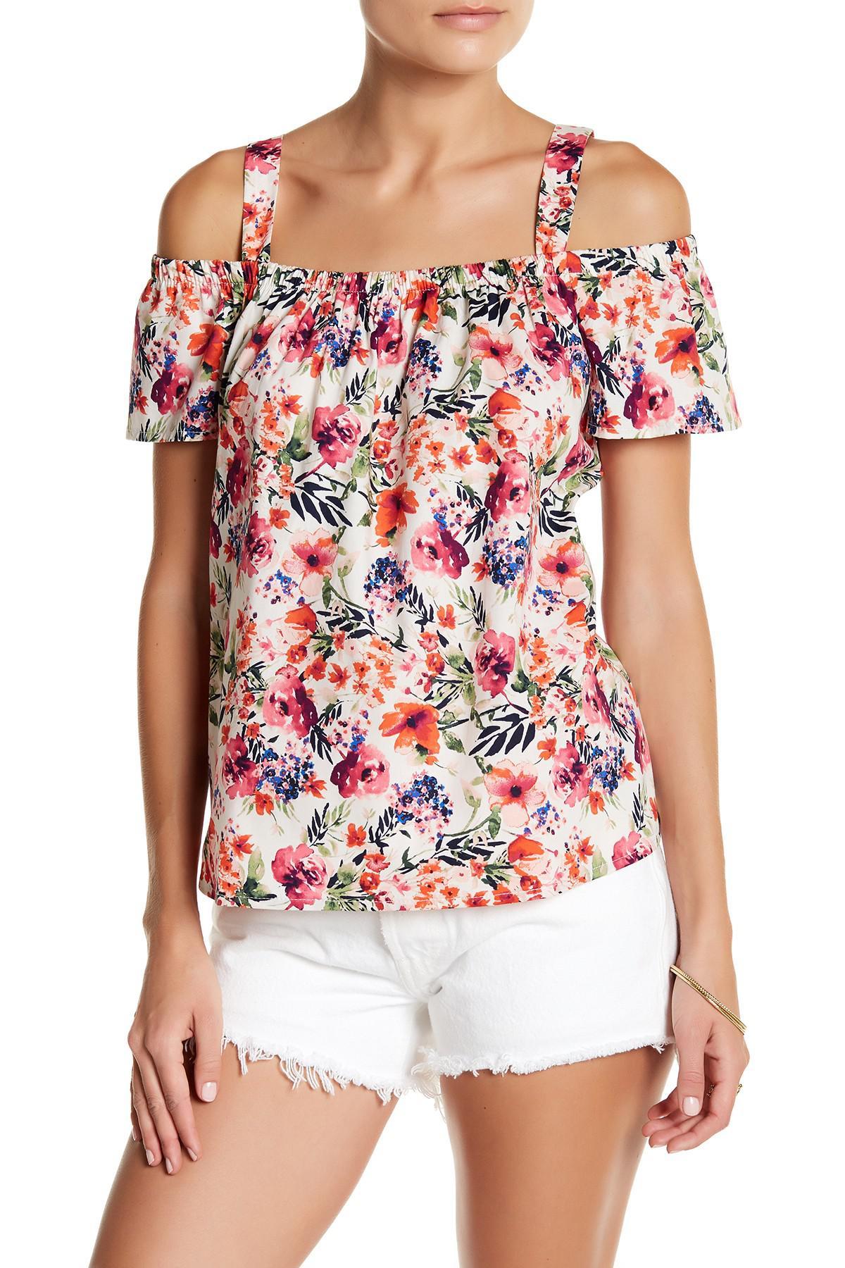 9097d388c9193 Lyst - Bobeau Floral Cold-shoulder Blouse (petite) in Pink