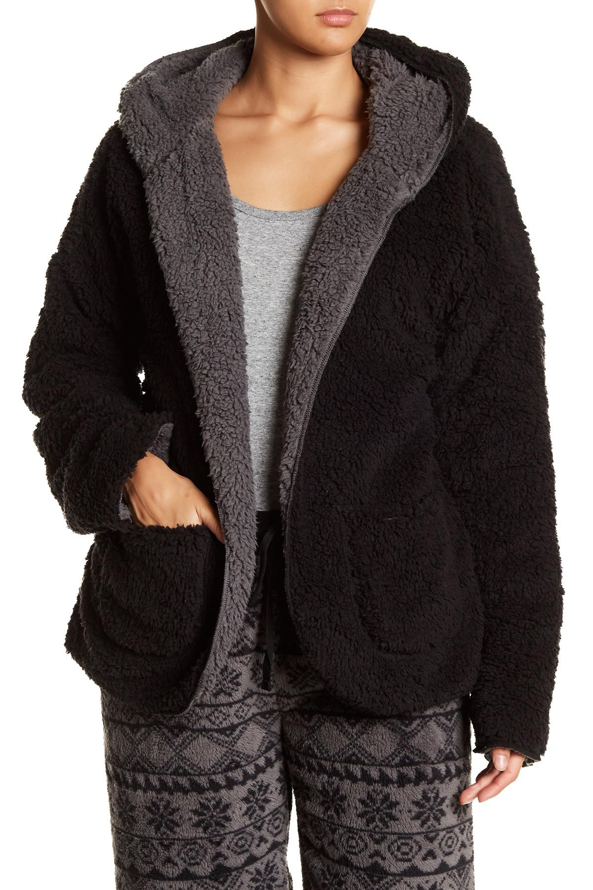 Pj salvage Open Fleece Cardigan in Black | Lyst