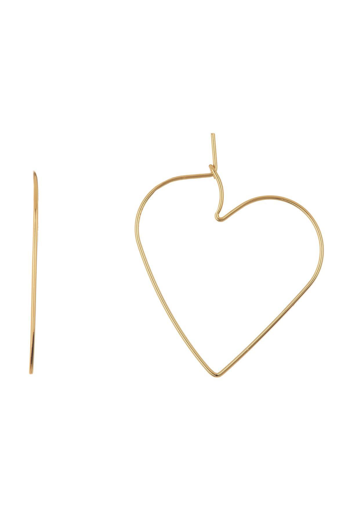 245b2ab14 Lyst - Rebecca Minkoff Love Hoop Heart Earrings in Metallic