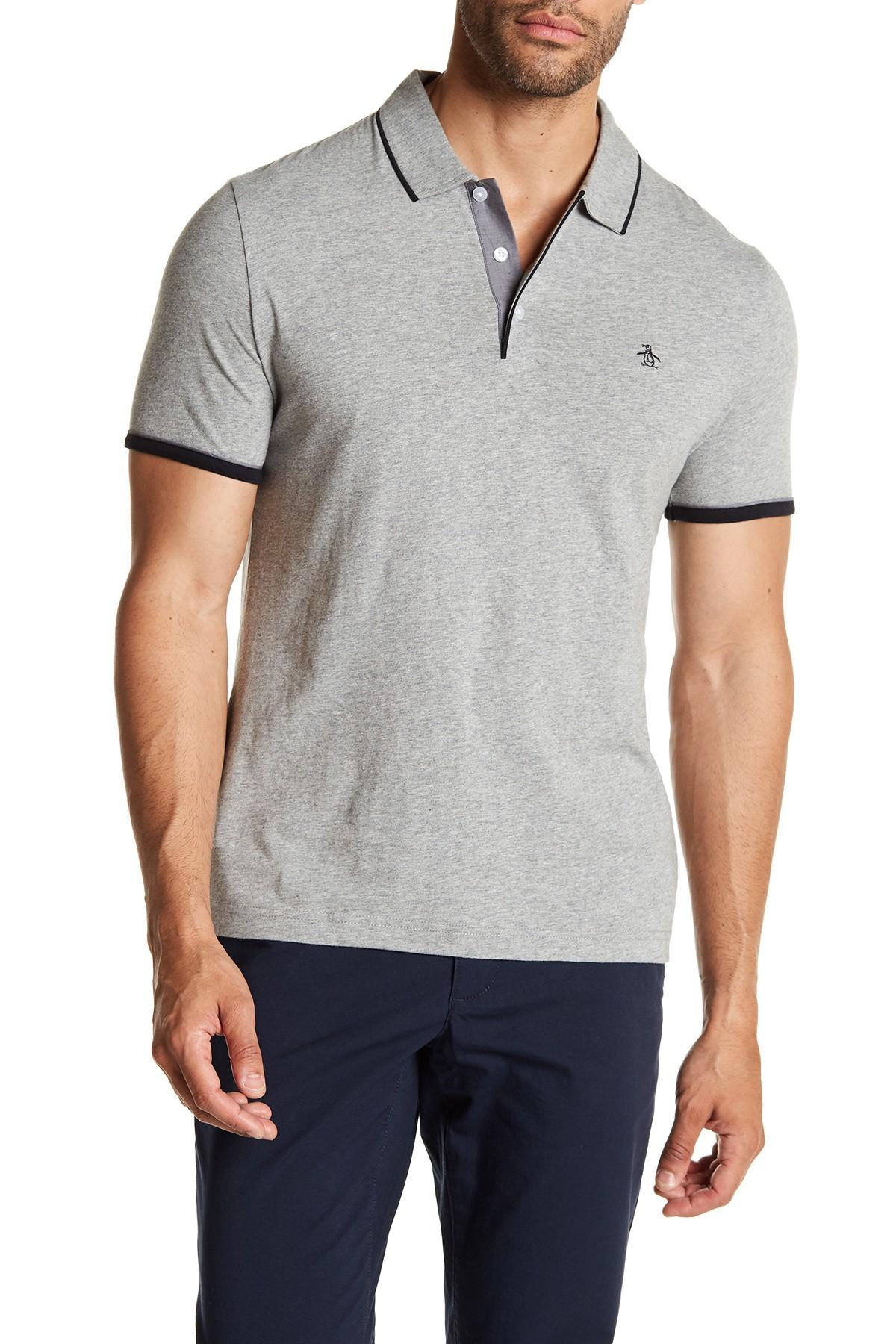Lyst - Original Penguin Contrast Trim Mearl Polo Shirt in Gray for Men 1d85b35f6656a
