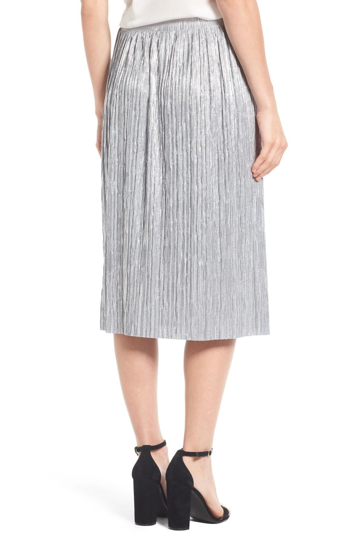 83123a8645 Vince Camuto Pleat Foiled Knit Skirt in Metallic - Lyst
