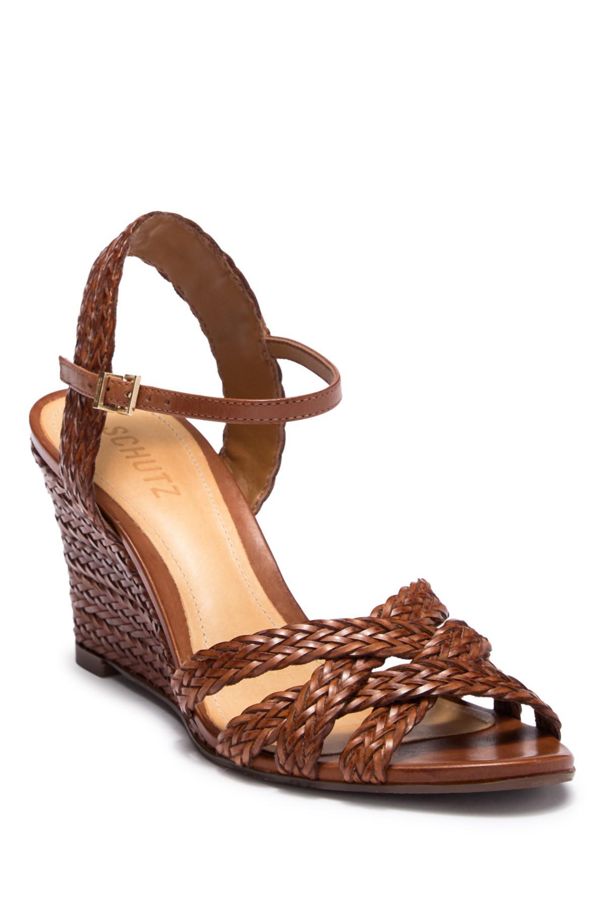 Schutz Mahoni Woven Leather Wedge Sandal MA2zfK