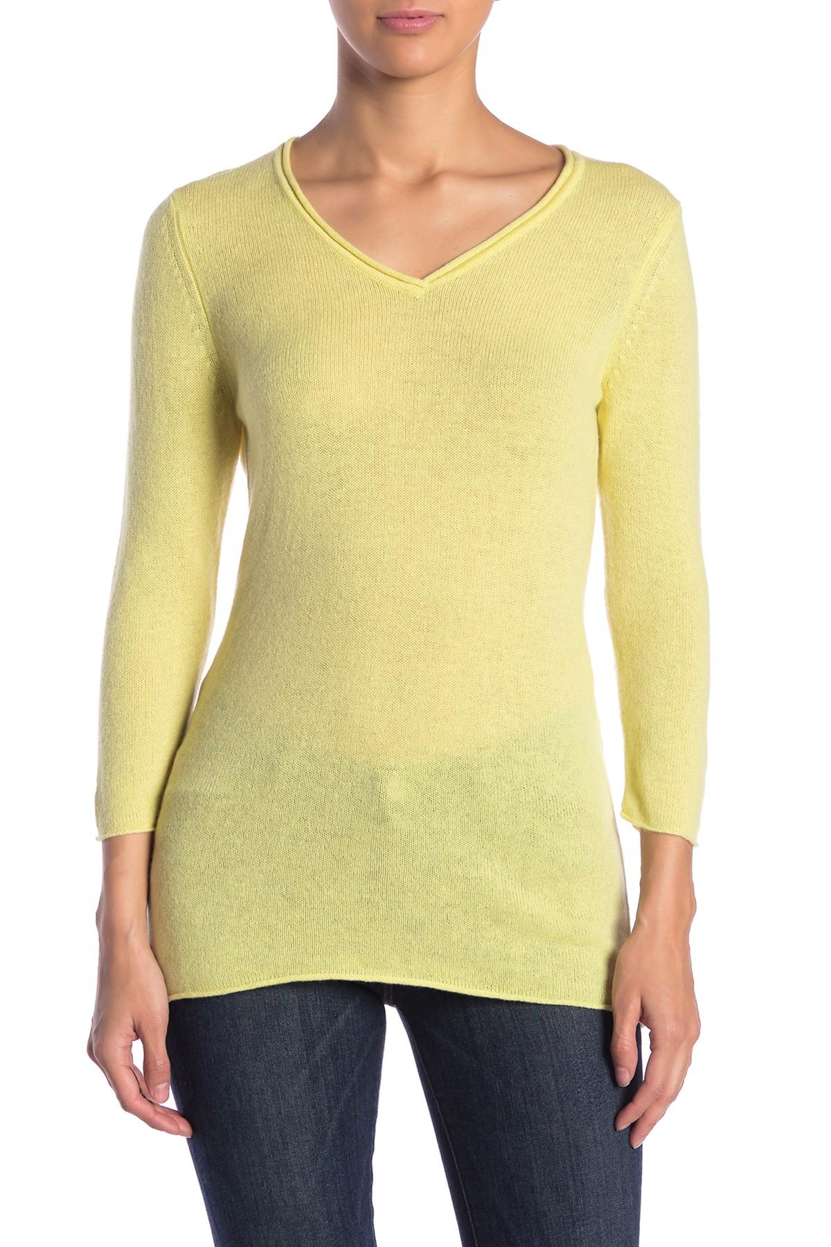 Lyst Kinross Cashmere V Neck Cashmere Sweater In Yellow
