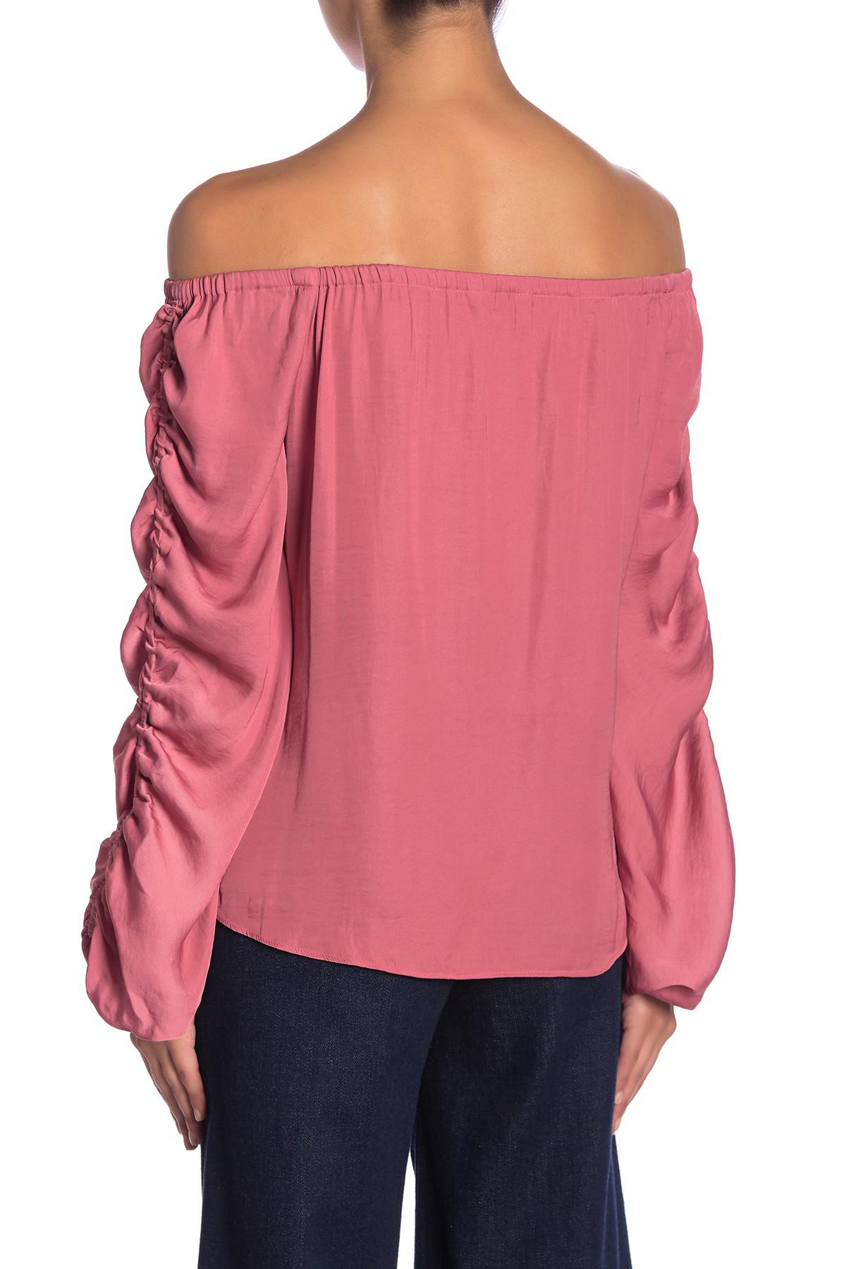 8f03281119ed7 Lyst - Naked Zebra Off-the-shoulder Gathered Sleeve Blouse in Pink