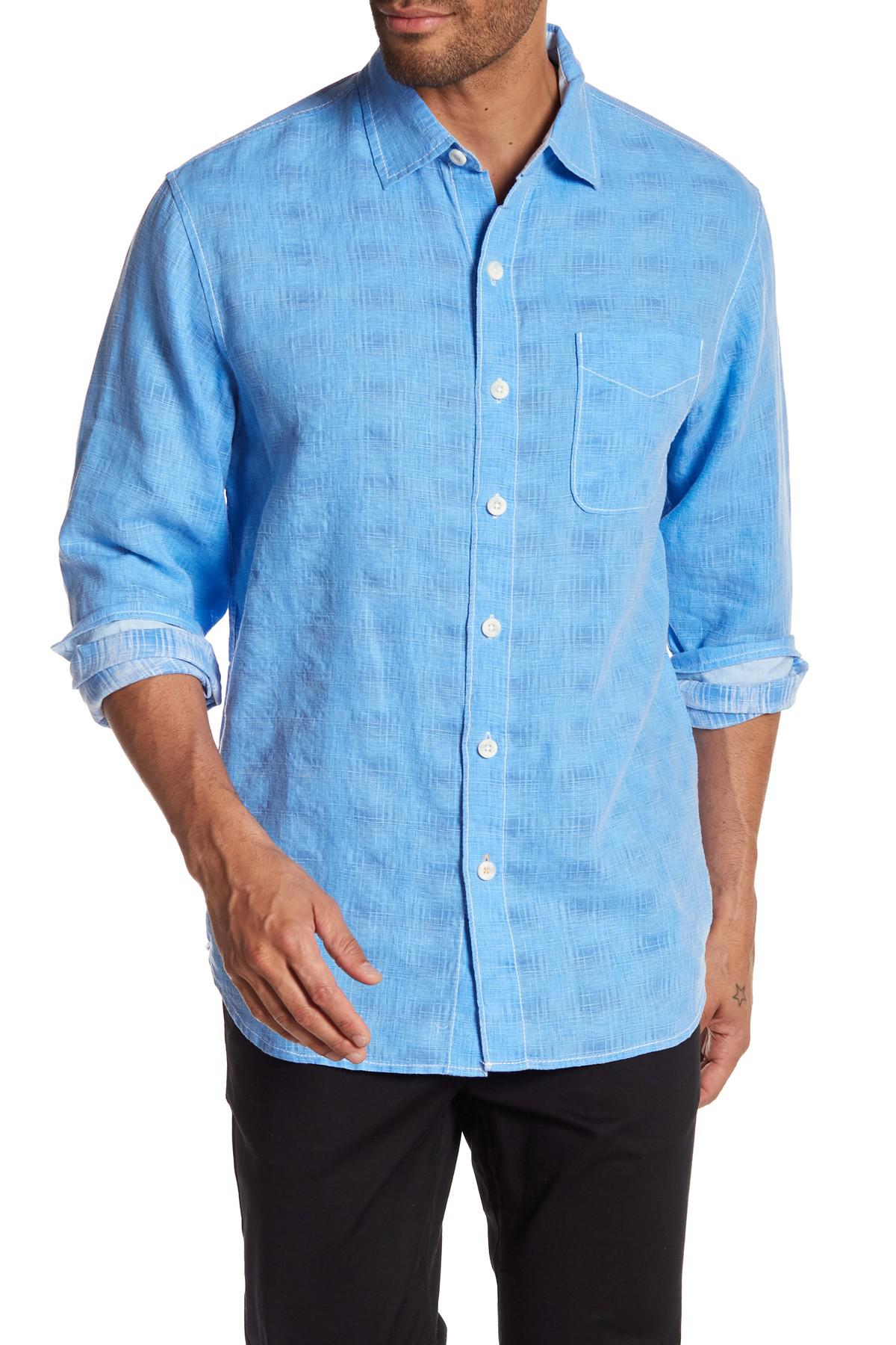 Tommy bahama long sleeve button up shirt in blue for men for Tommy bahama long sleeve dress shirts