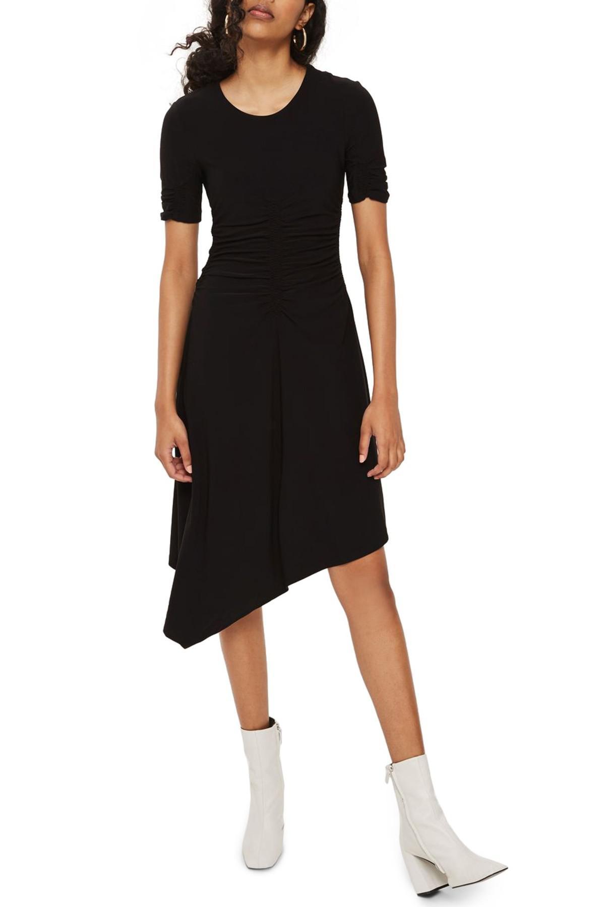 7b62e55d08e TOPSHOP Ruched Asymmetrical Dress in Black - Lyst