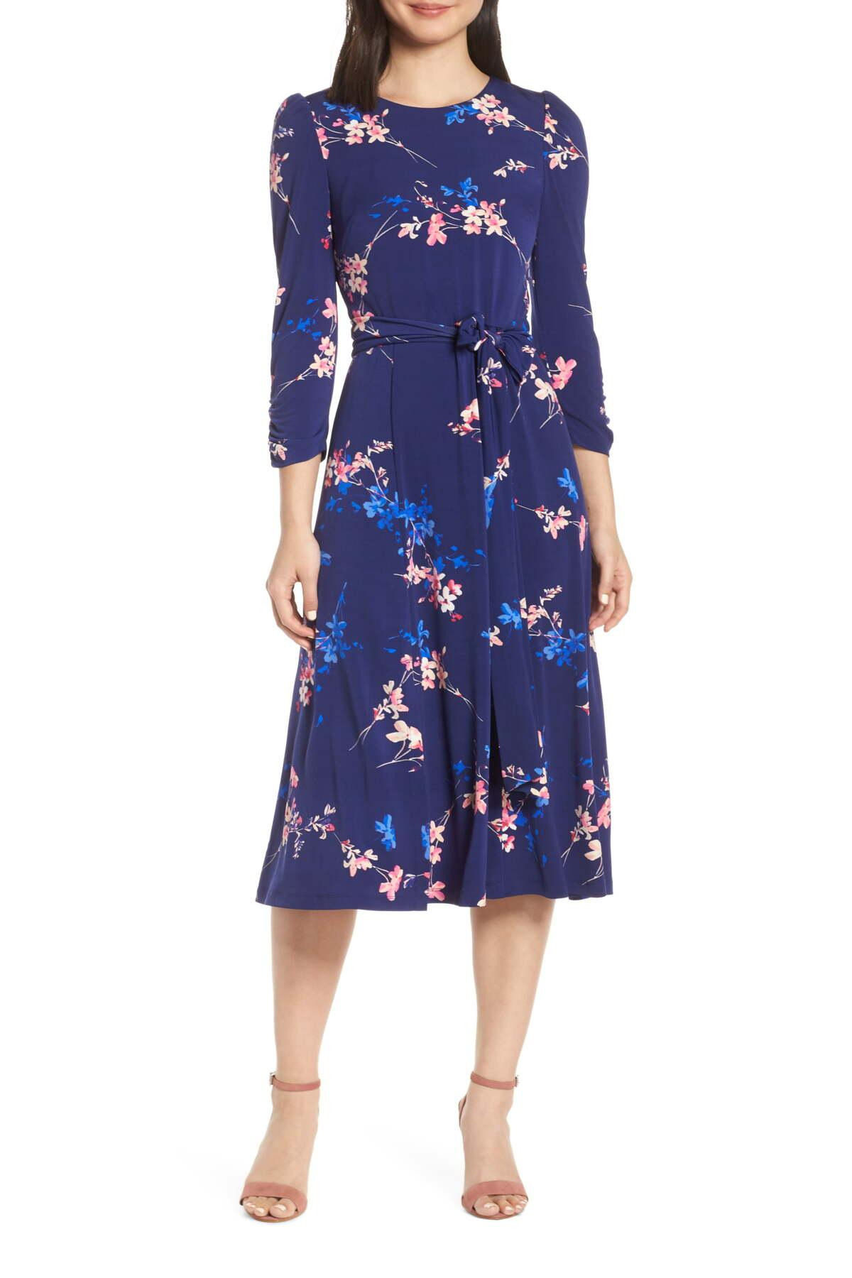 Eliza j floral long sleeve bodycon midi dress