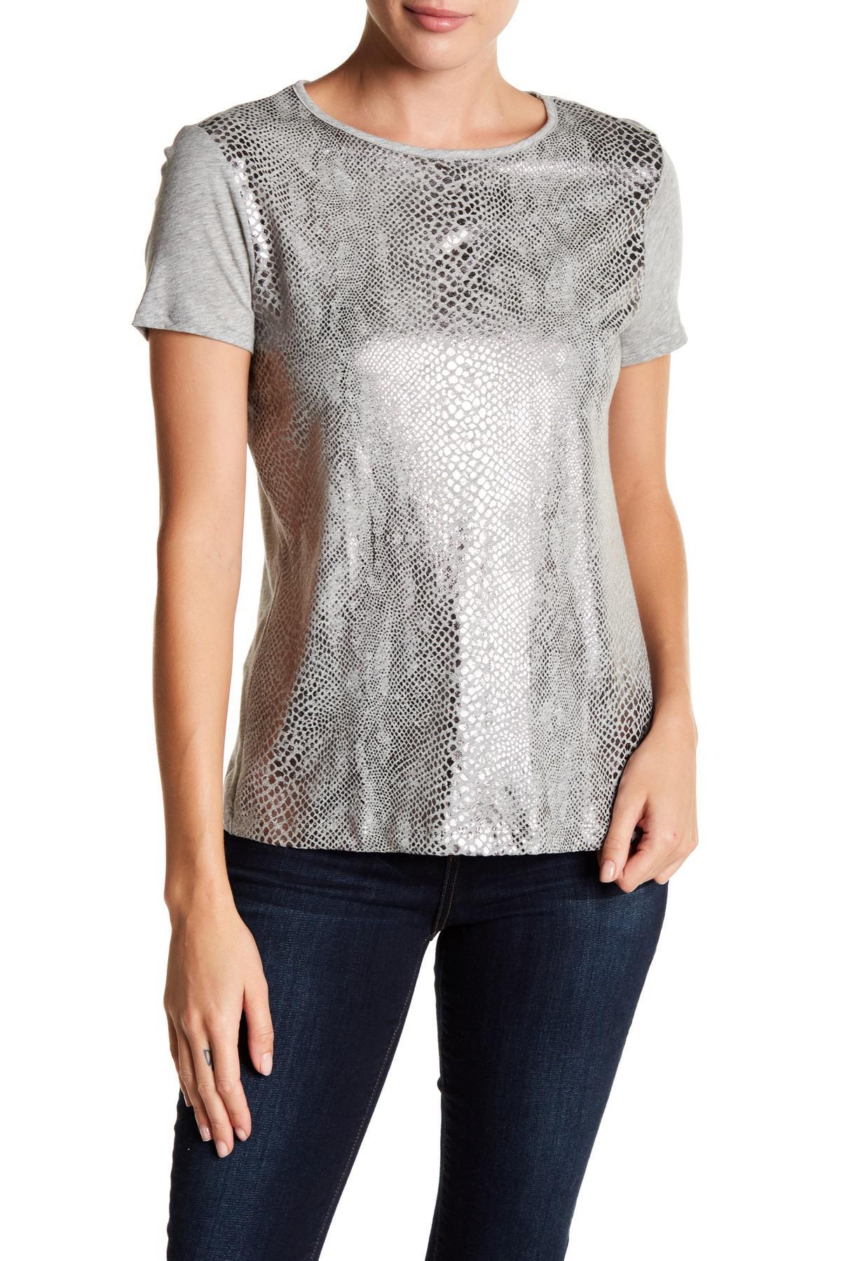 Lyst three dots metallic snake print heather knit tee in for Three dots t shirts