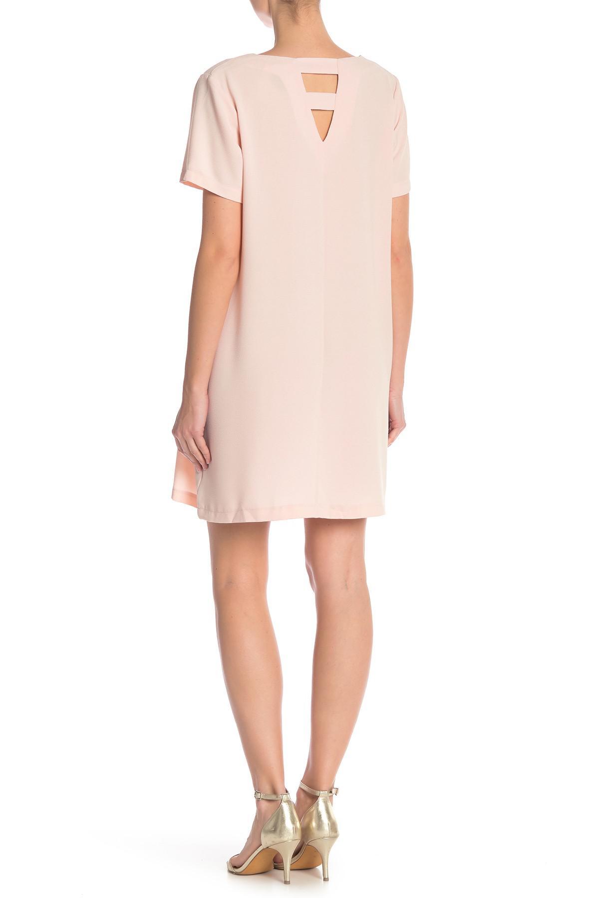 194c59ffae Bobeau Short Sleeve Crepe Shift Dress in Pink - Lyst