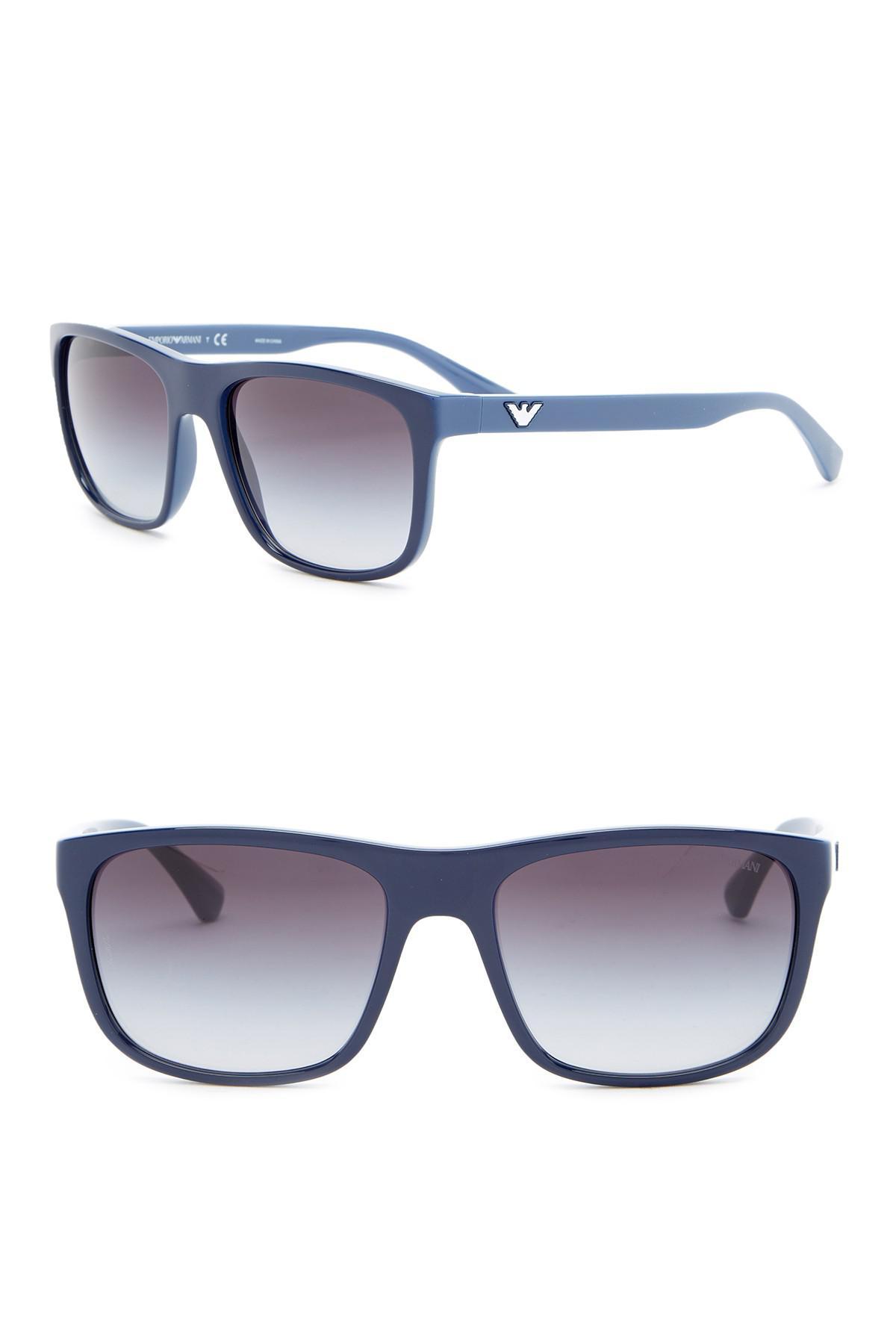 0e74b5586284 Lyst - Emporio Armani 56mm Wayfarer Acetate Frame Sunglasses in Blue ...