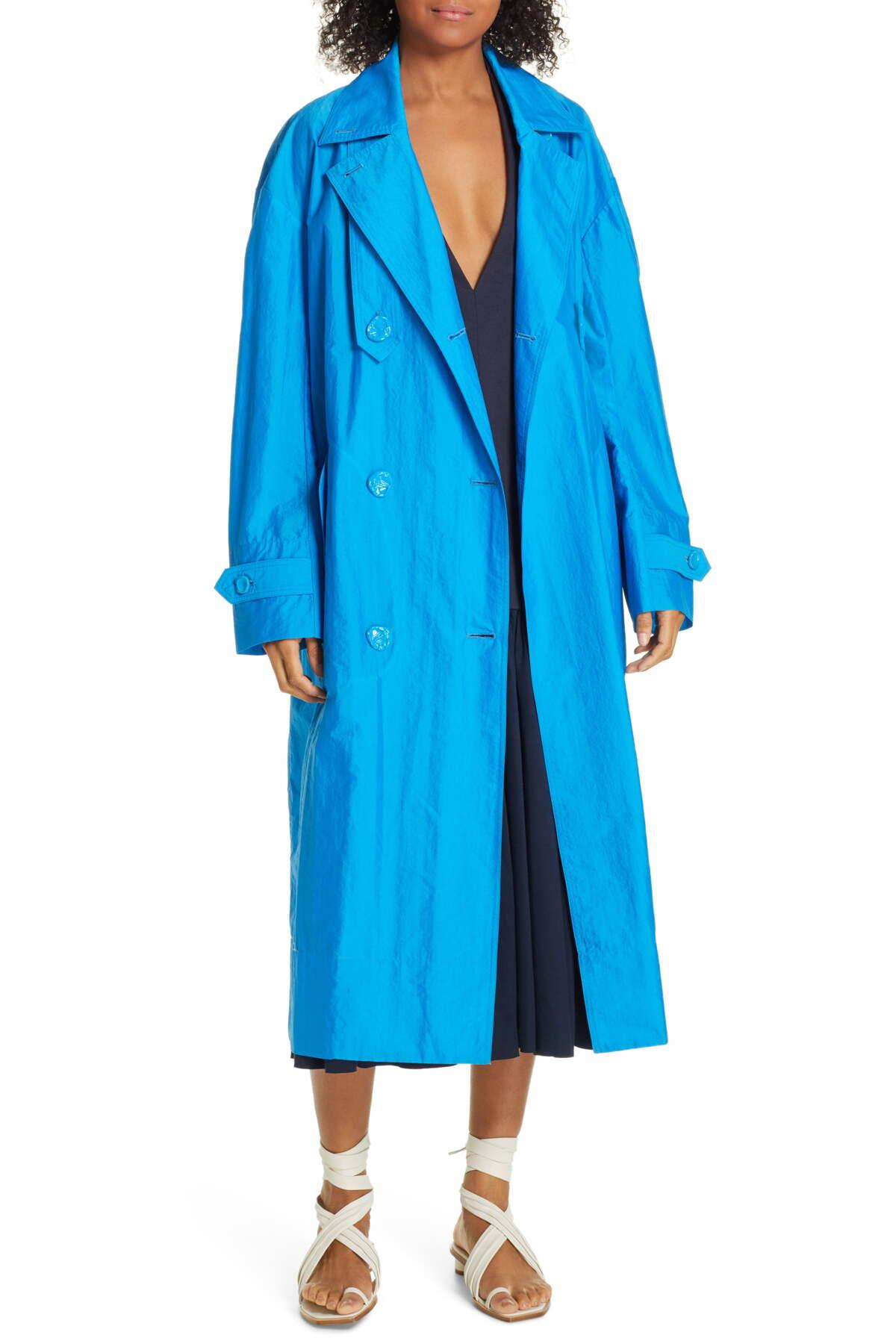 Tibi Double Breasted Trench Coat In Blue Lyst