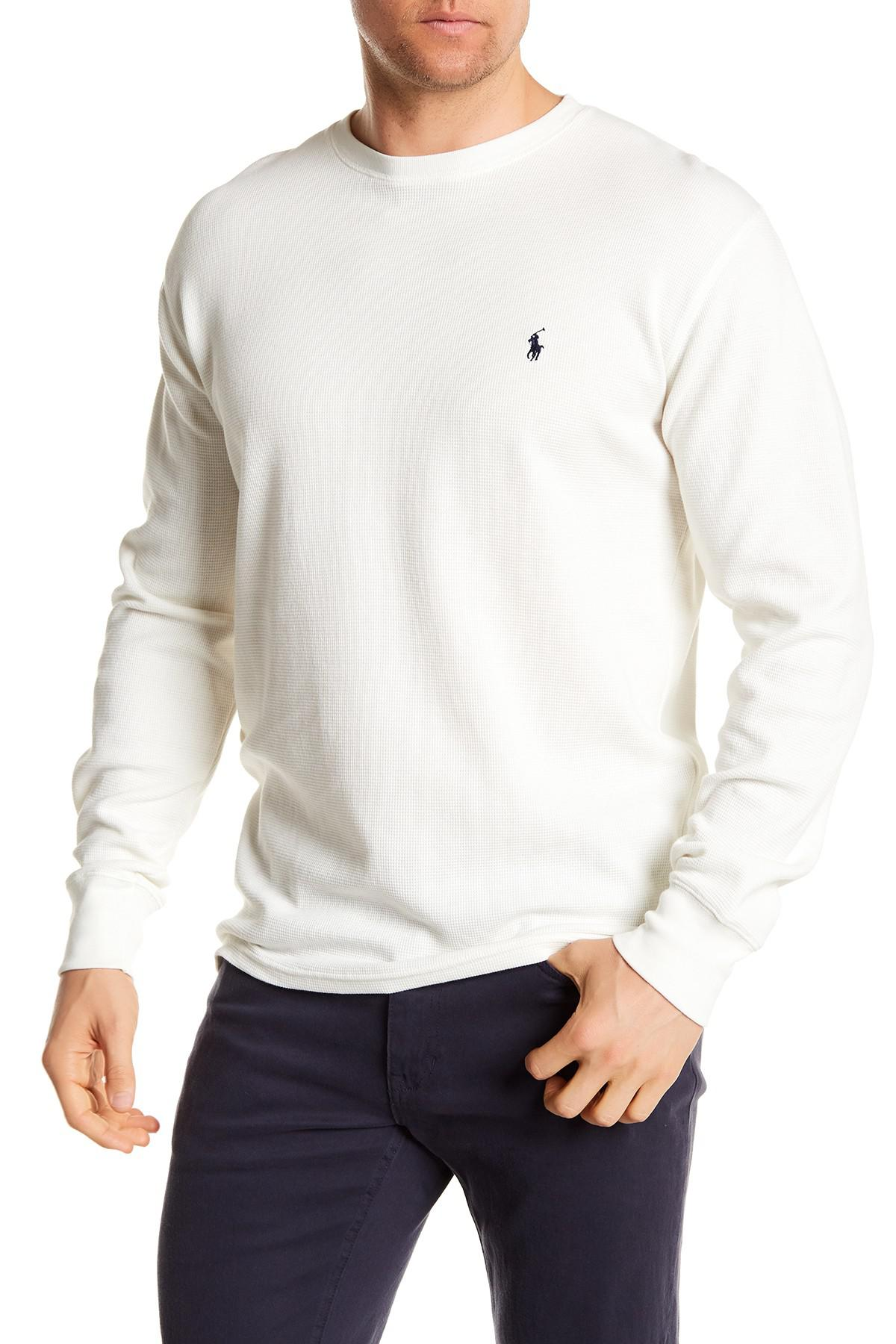 Sleeve Long Tee Lauren Crew Polo Neck For Waffle Ralph White Knit Men UMVpqSzG