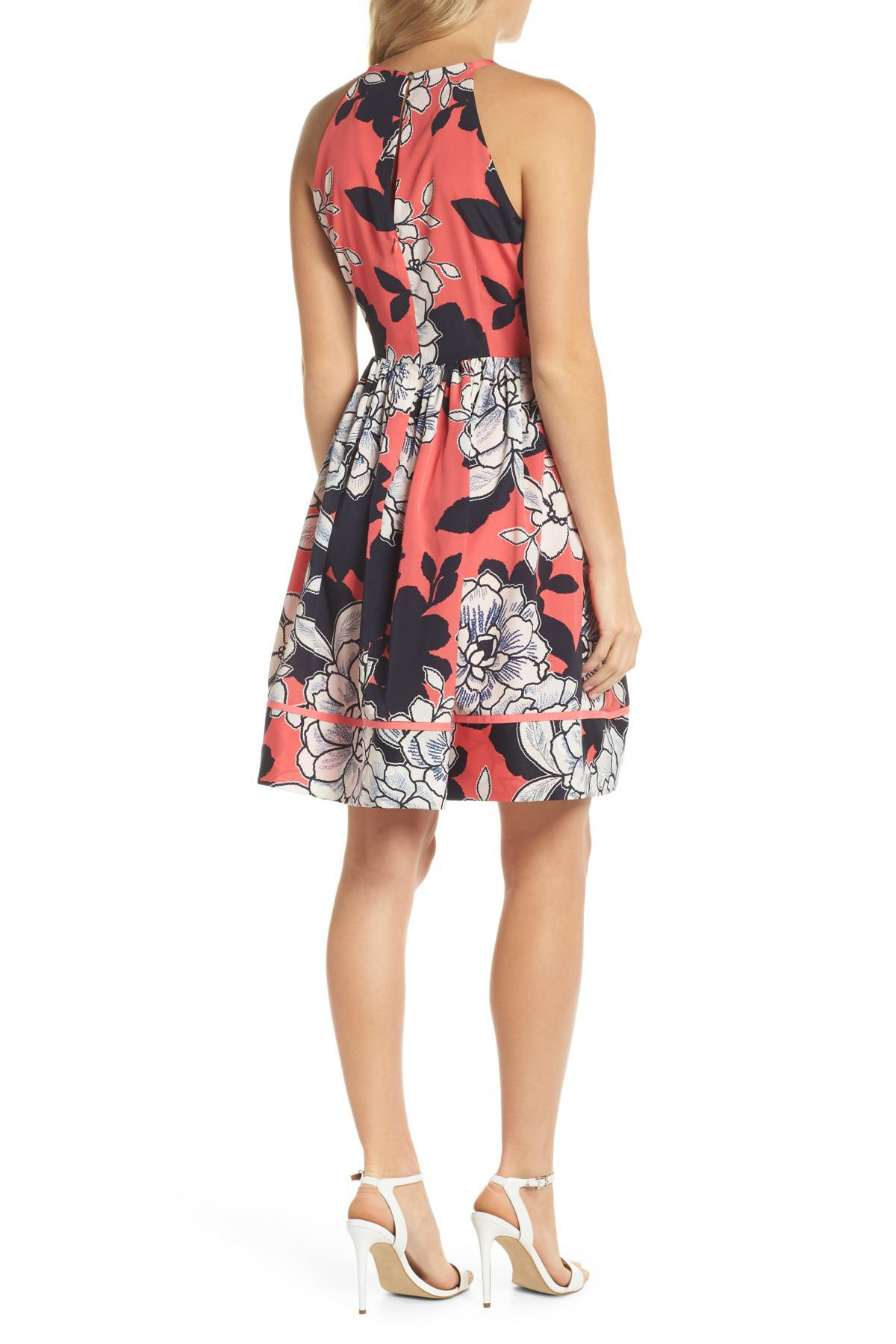 Vince Camuto Floral Fit And Flare Dress Regular Amp Petite