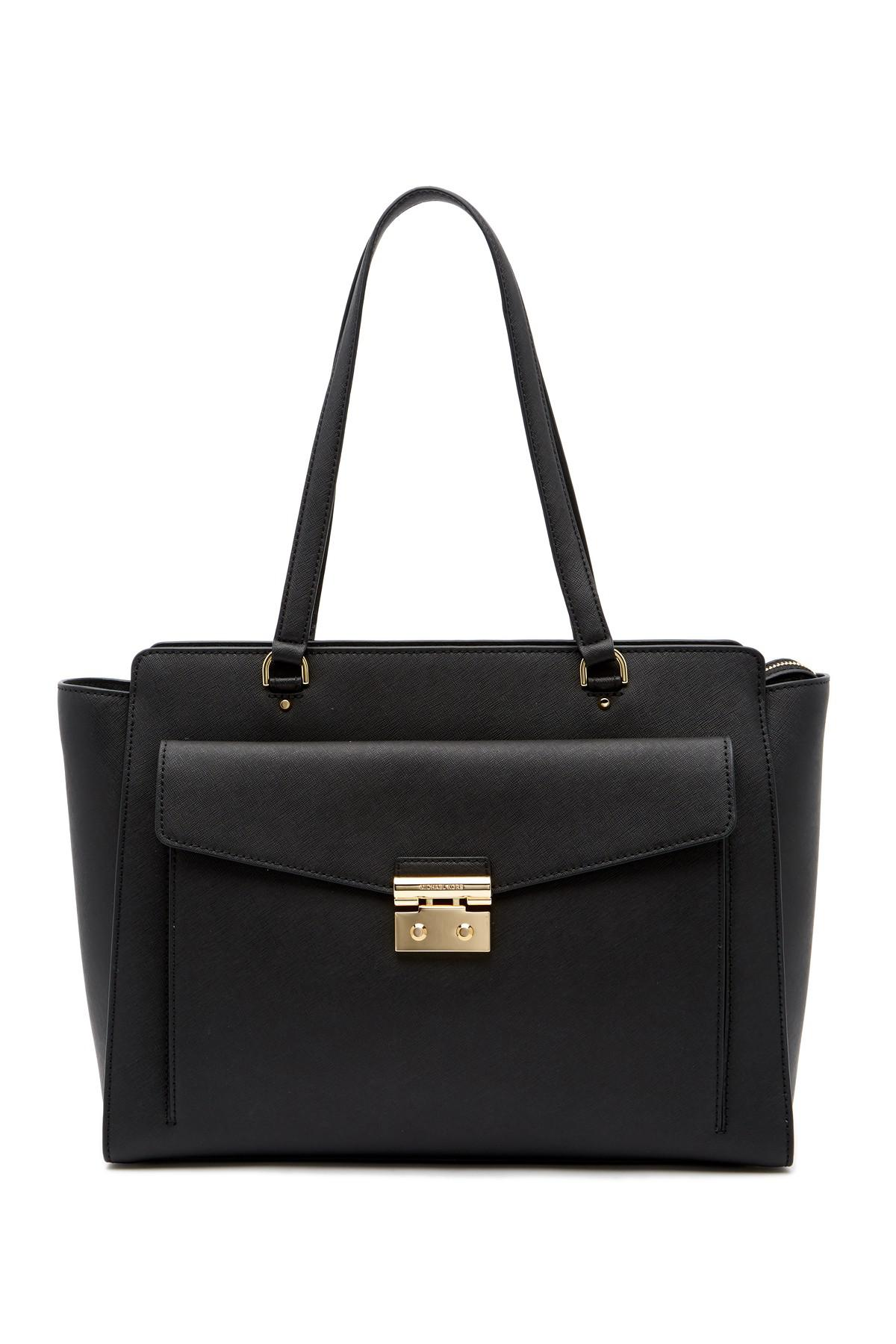 0f6331fa545e67 Lyst - MICHAEL Michael Kors Large Essex Leather Tote Bag in Black
