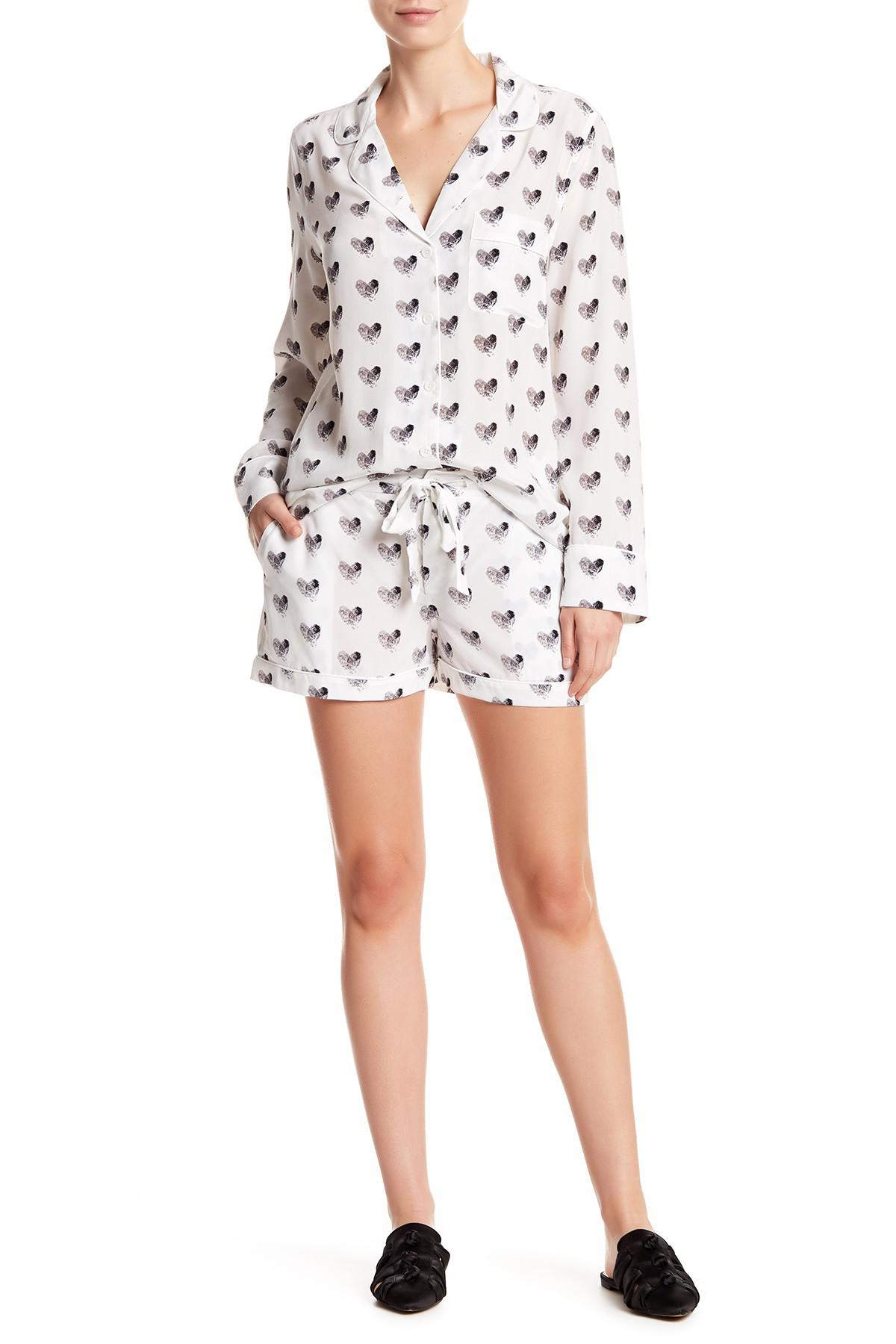13e9bdfa20 Lyst - Equipment Woman Lillian Printed Washed-silk Pajama Set White ...