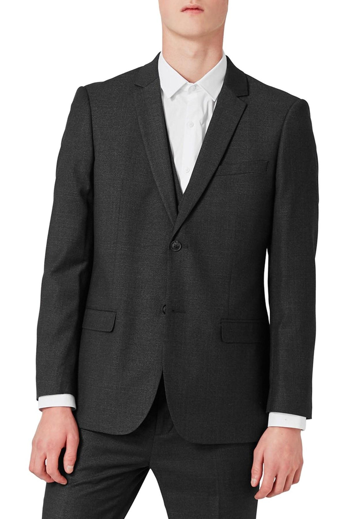 Topman Slim Fit Charcoal Suit Jacket in Gray for Men | Lyst