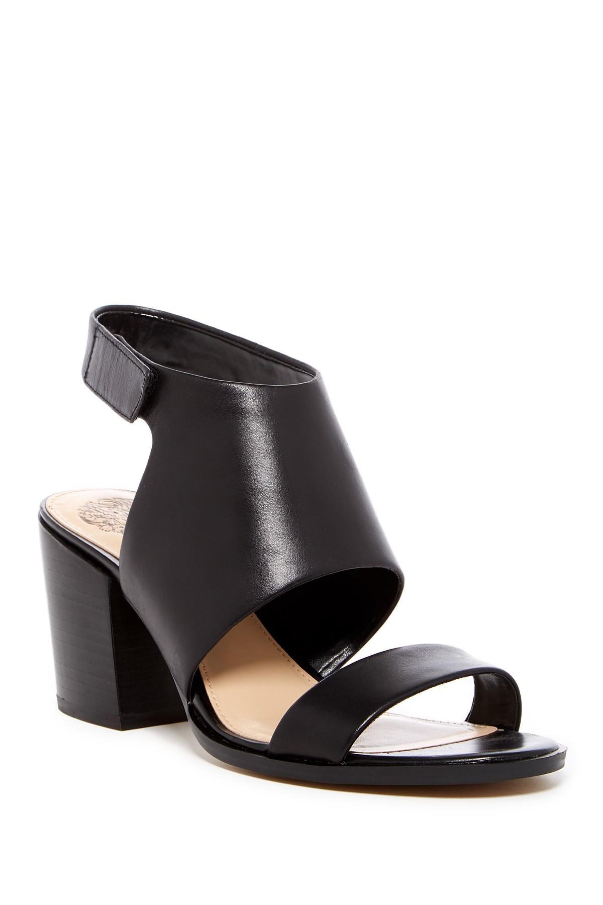 24f33e76238 Lyst - Vince Camuto Leena Block Heel Leather Sandal in Black
