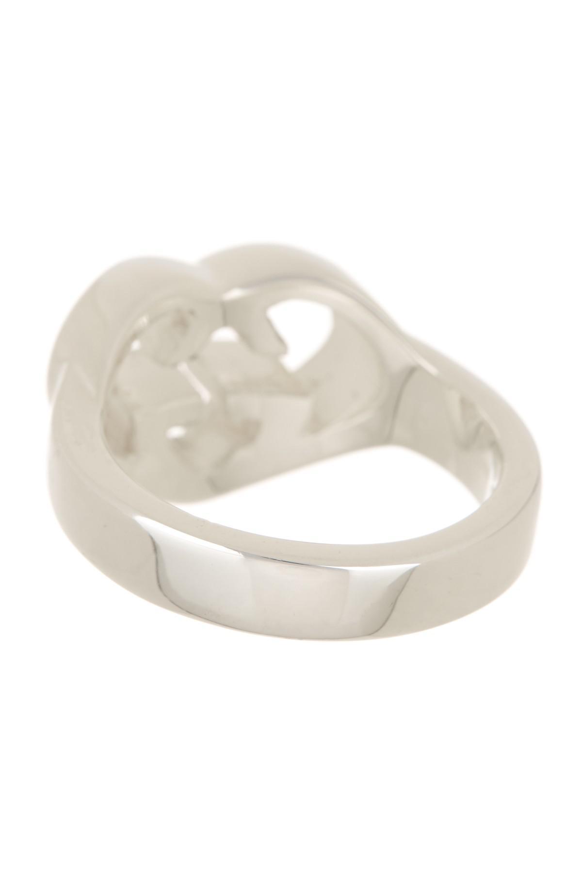 1ae85f287c7 Lyst - Gucci Sterling Silver Love Britt Ring - Size 7 in Metallic