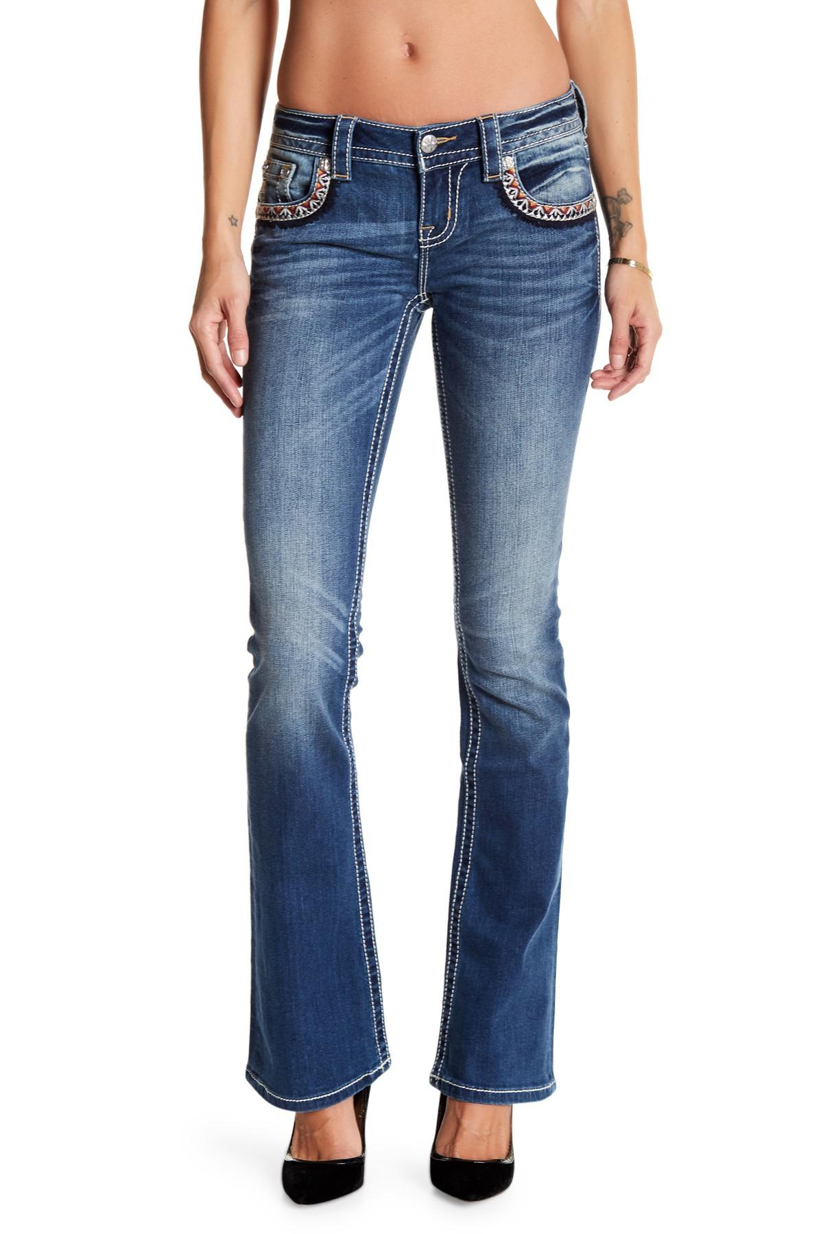 Lyst miss me embroidered bootcut jeans in blue