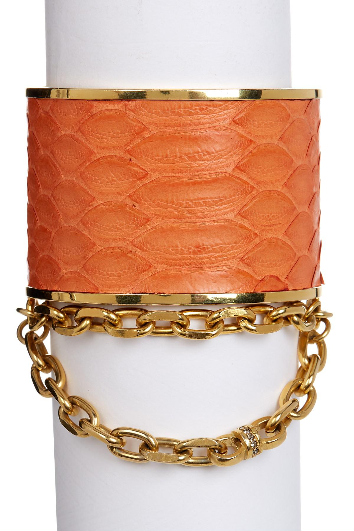Paige Novick Natalie Snake Embossed Chain Open Cuff In