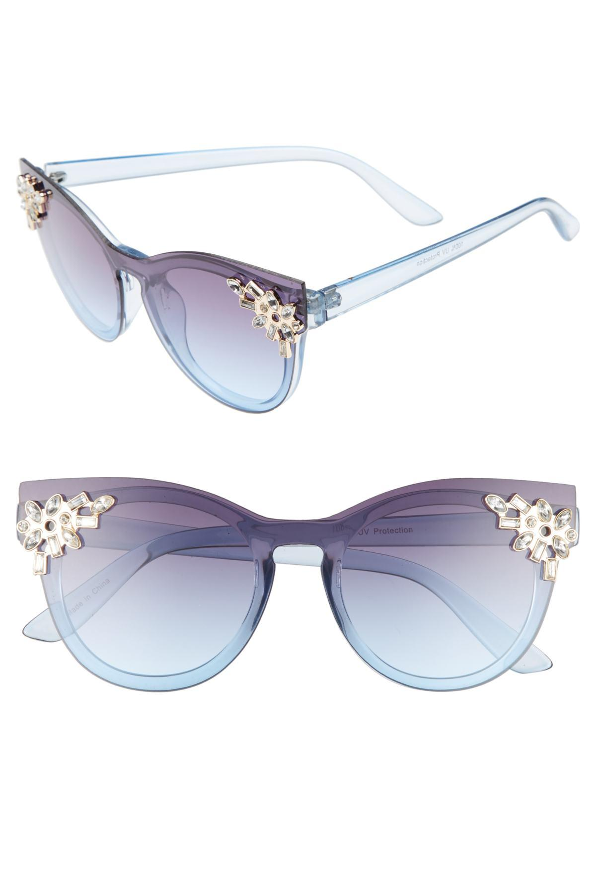 7954d1f609df5 Lyst - Leith 52mm Crystal Embellished Round Sunglasses in Blue