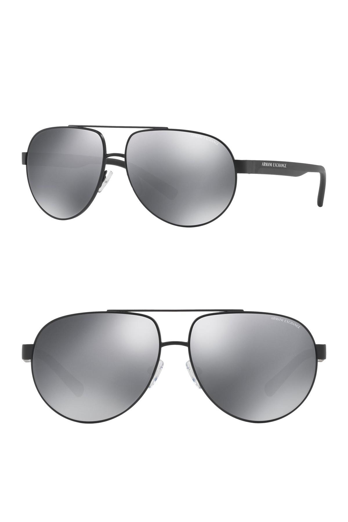 9e29156ddce Armani Exchange - Multicolor Pilot 60mm Aviator Sunglasses for Men - Lyst.  View fullscreen