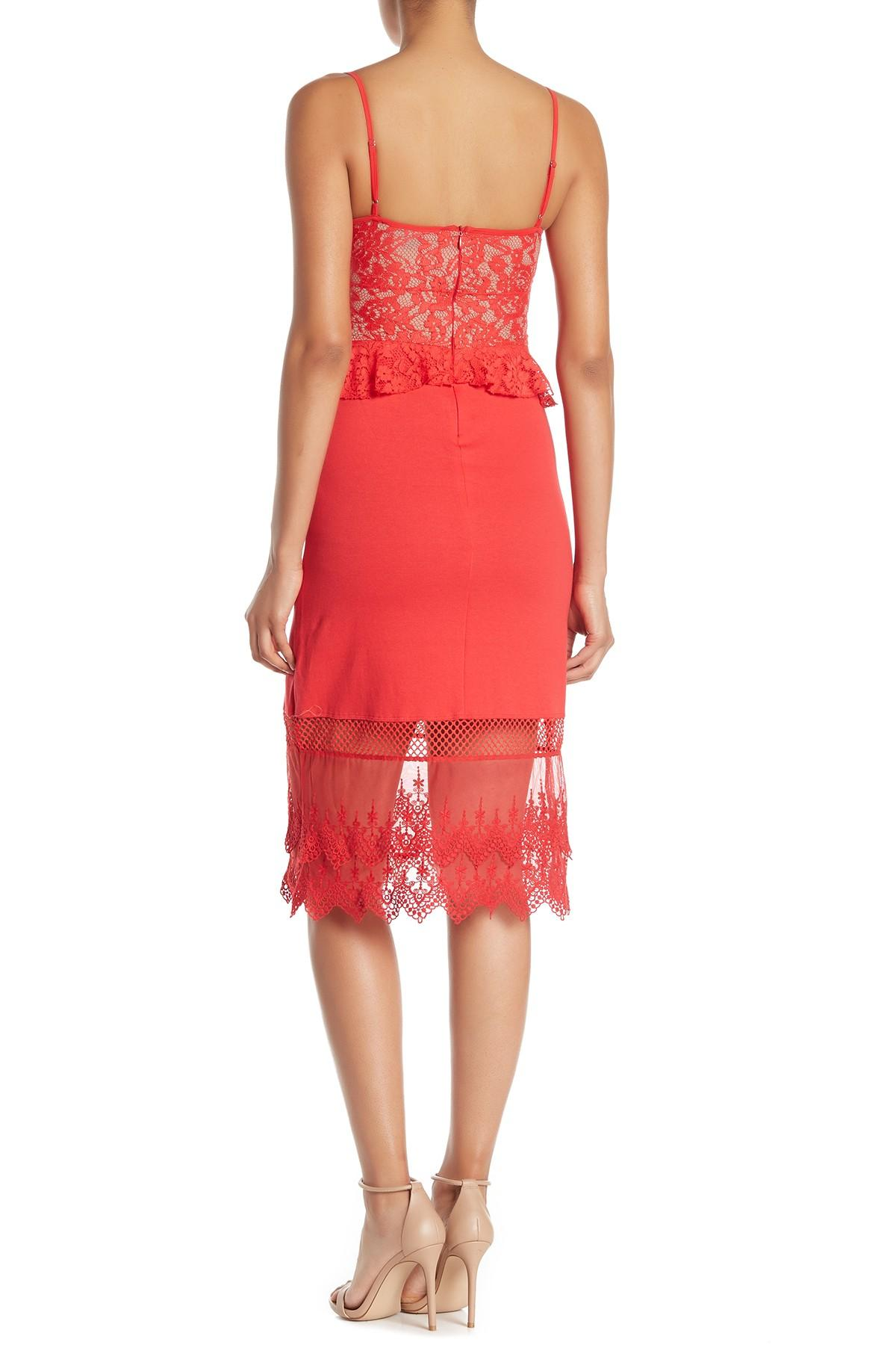 ce6b10516b2 French Connection - Red Delos Lucky Lace Peplum Sheath Dress - Lyst. View  fullscreen